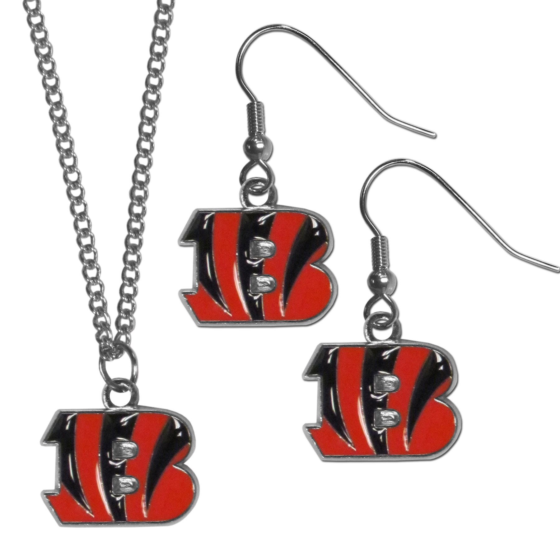 Cincinnati Bengals Dangle Earrings and Chain Necklace Set - This classic jewelry set contains are most popular Cincinnati Bengals dangle earrings and 22 inch chain necklace. The trendy, dangle earrings are lightweight and feature a fully cast metal team charm with enameled team colors. The matching necklace completes this fashion forward combo and is a spirited set that is perfect for game day but nice enough for everyday.