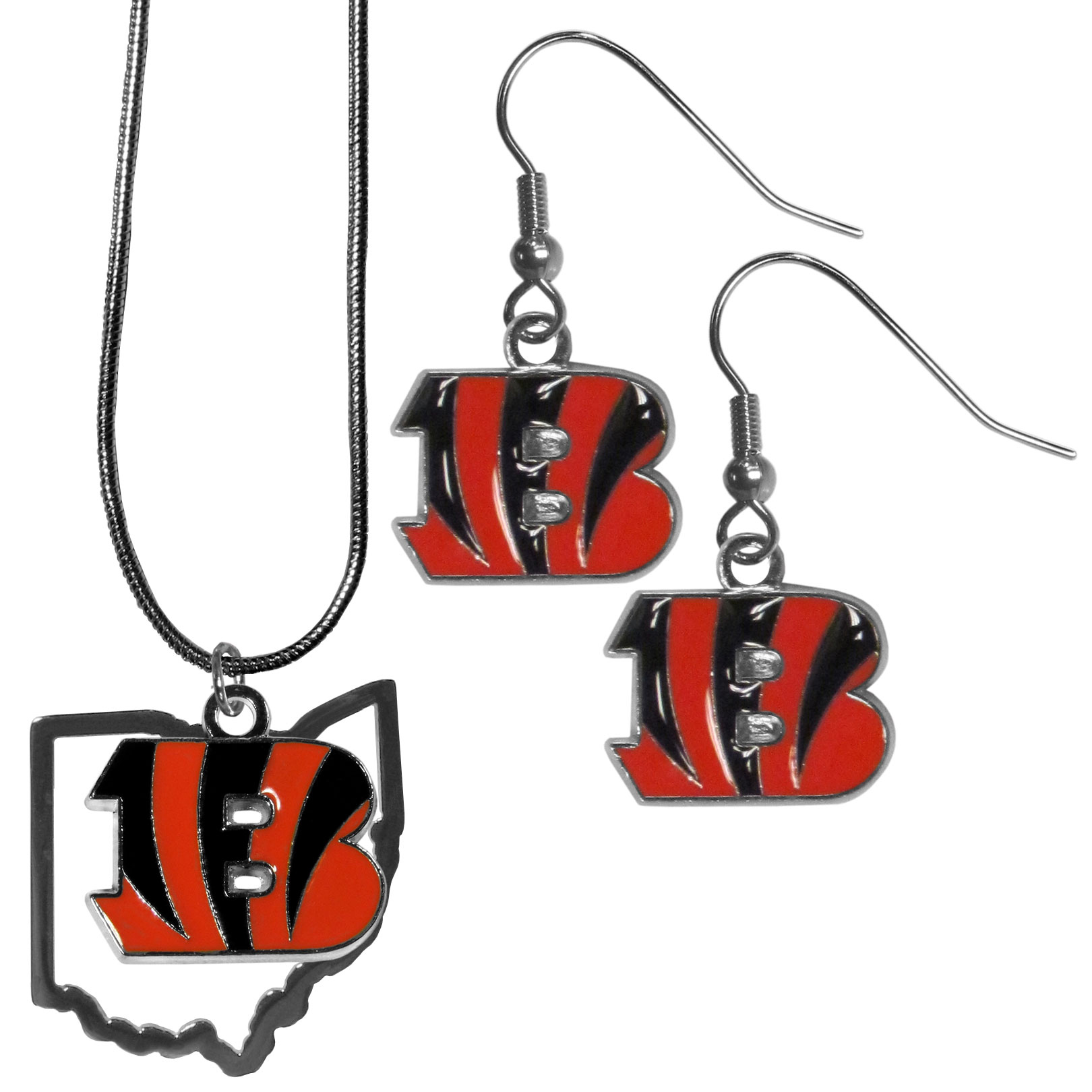 Cincinnati Bengals Dangle Earrings and State Necklace Set - Get in on the trend! State themes are a trend that just keeps getting more popular and this jewelry set takes the state style and give it a sporty twist with a Cincinnati Bengals necklace that features an Arizona state outline charm paired with a beautiful team charm and matching team charm dangle earrings. The earrings feature hypoallergenic fishhook posts that are nickel free.