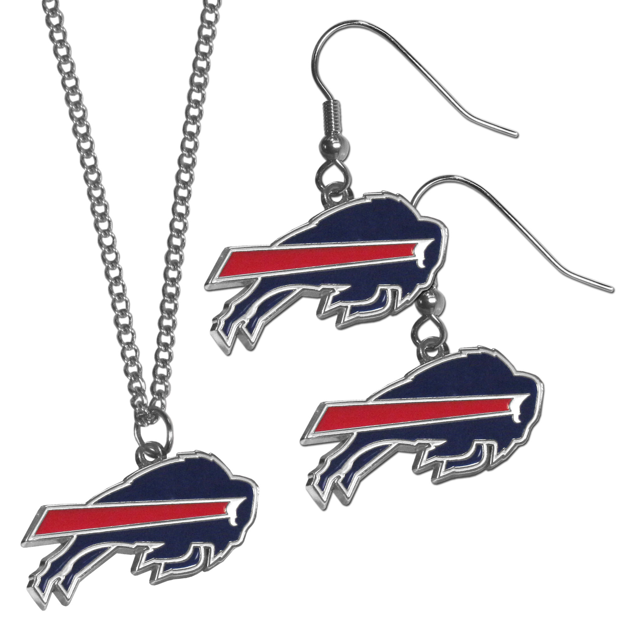 Buffalo Bills Dangle Earrings and Chain Necklace Set - This classic jewelry set contains are most popular Buffalo Bills dangle earrings and 22 inch chain necklace. The trendy, dangle earrings are lightweight and feature a fully cast metal team charm with enameled team colors. The matching necklace completes this fashion forward combo and is a spirited set that is perfect for game day but nice enough for everyday.
