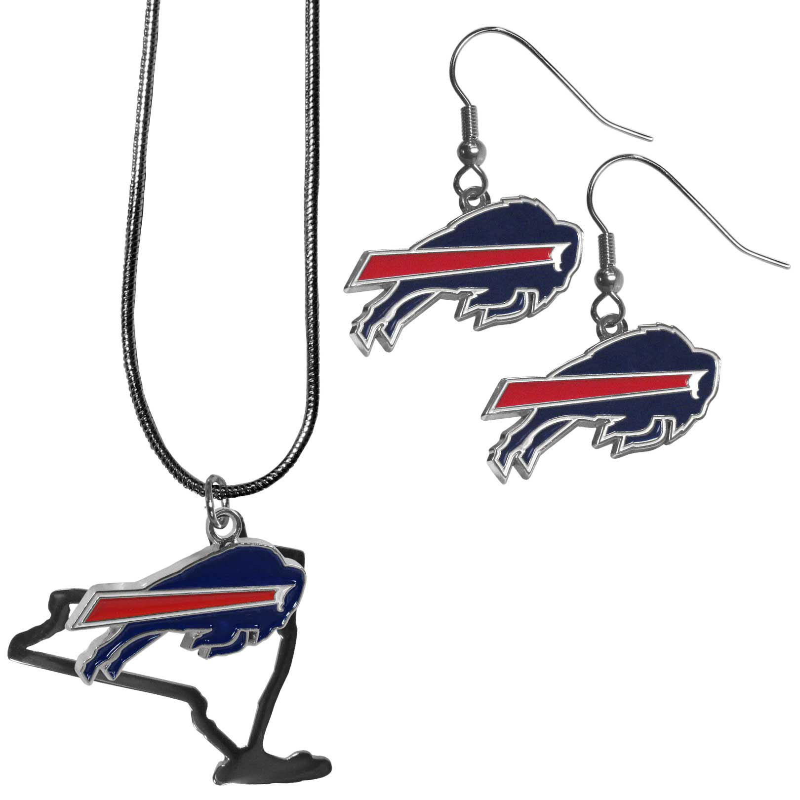 Buffalo Bills Dangle Earrings and State Necklace Set - Get in on the trend! State themes are a trend that just keeps getting more popular and this jewelry set takes the state style and give it a sporty twist with a Buffalo Bills necklace that features an Arizona state outline charm paired with a beautiful team charm and matching team charm dangle earrings. The earrings feature hypoallergenic fishhook posts that are nickel free.