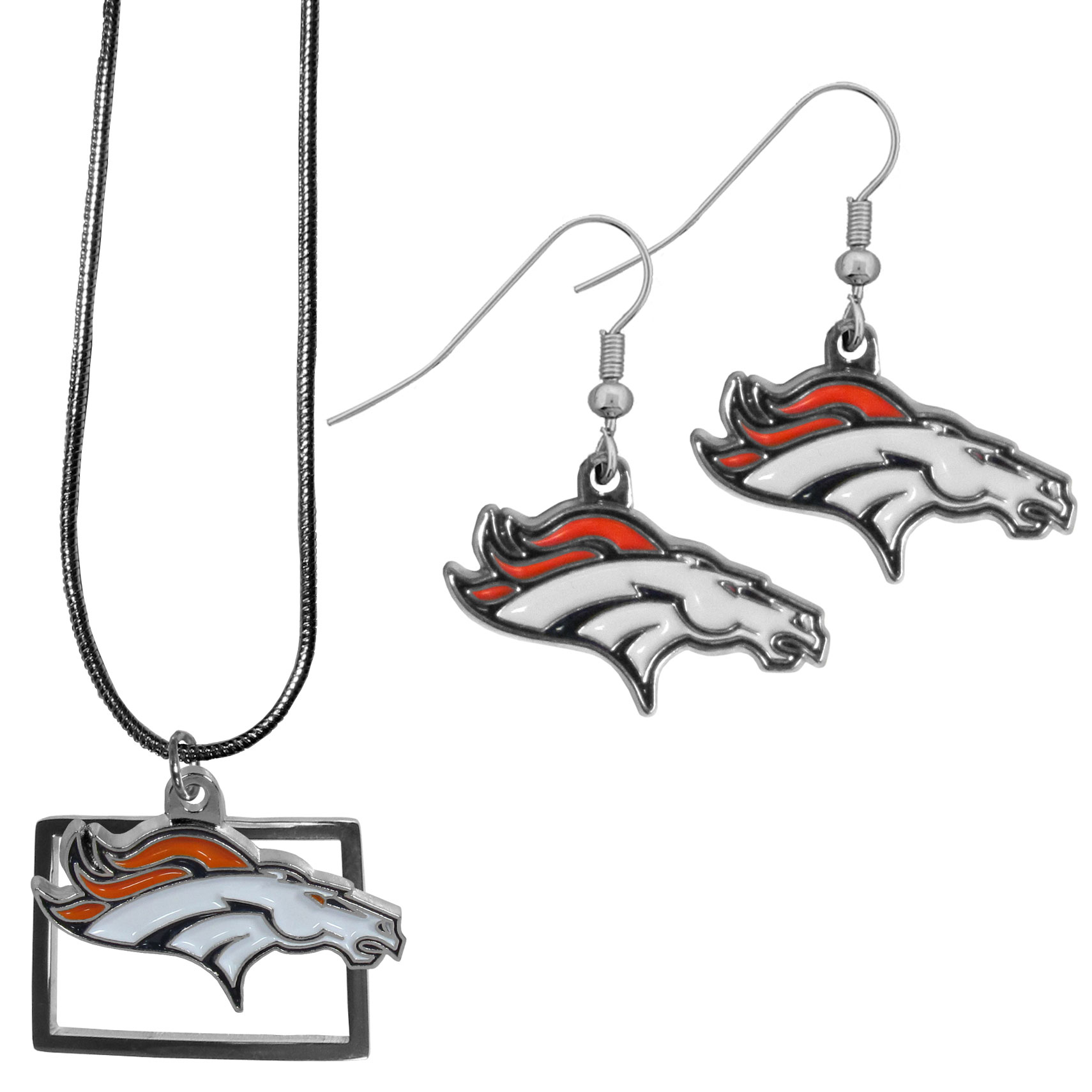 Denver Broncos Dangle Earrings and State Necklace Set - Get in on the trend! State themes are a trend that just keeps getting more popular and this jewelry set takes the state style and give it a sporty twist with a Denver Broncos necklace that features an Arizona state outline charm paired with a beautiful team charm and matching team charm dangle earrings. The earrings feature hypoallergenic fishhook posts that are nickel free.