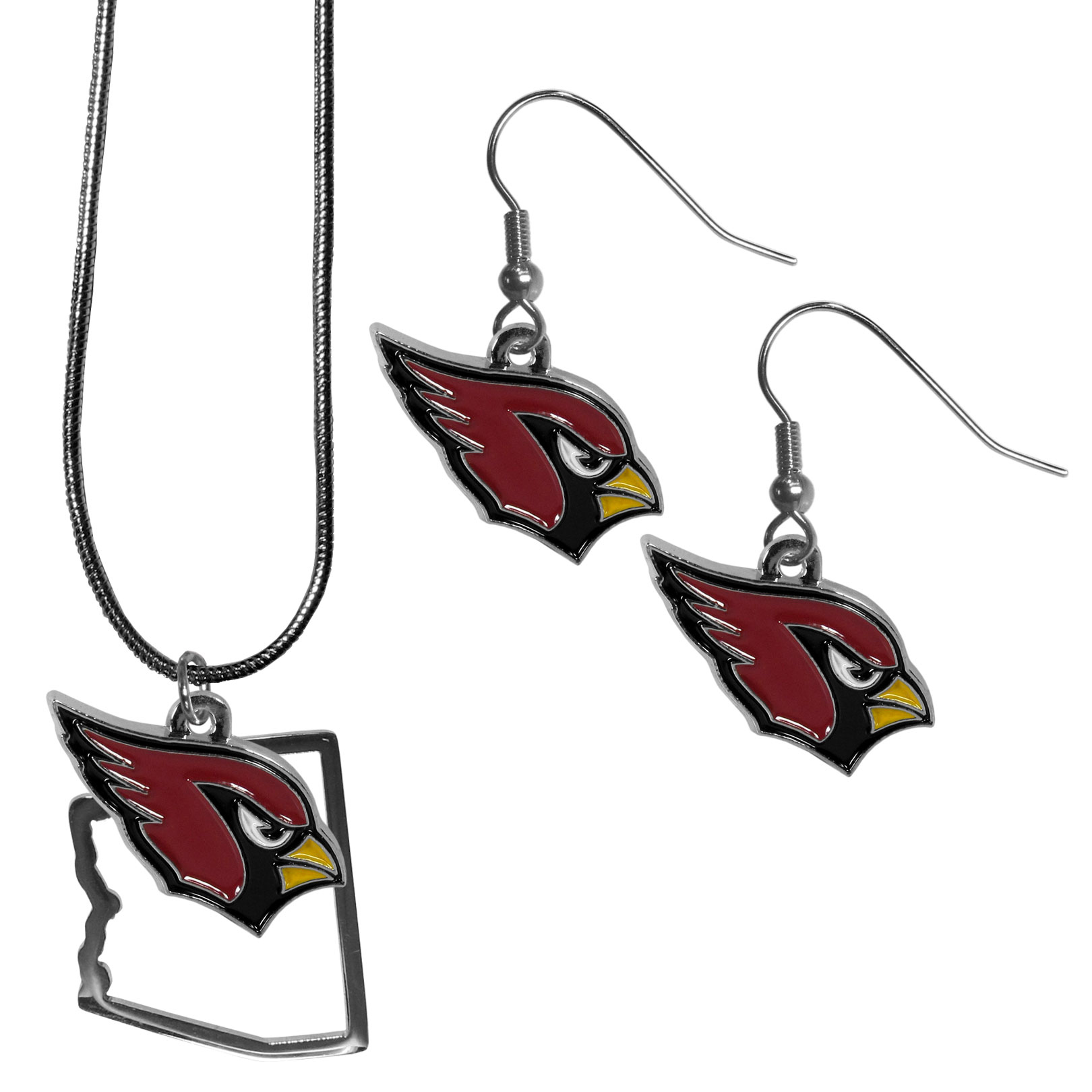 Arizona Cardinals Dangle Earrings and State Necklace Set - Get in on the trend! State themes are a trend that just keeps getting more popular and this jewelry set takes the state style and give it a sporty twist with a Arizona Cardinals necklace that features an Arizona state outline charm paired with a beautiful team charm and matching team charm dangle earrings. The earrings feature hypoallergenic fishhook posts that are nickel free.