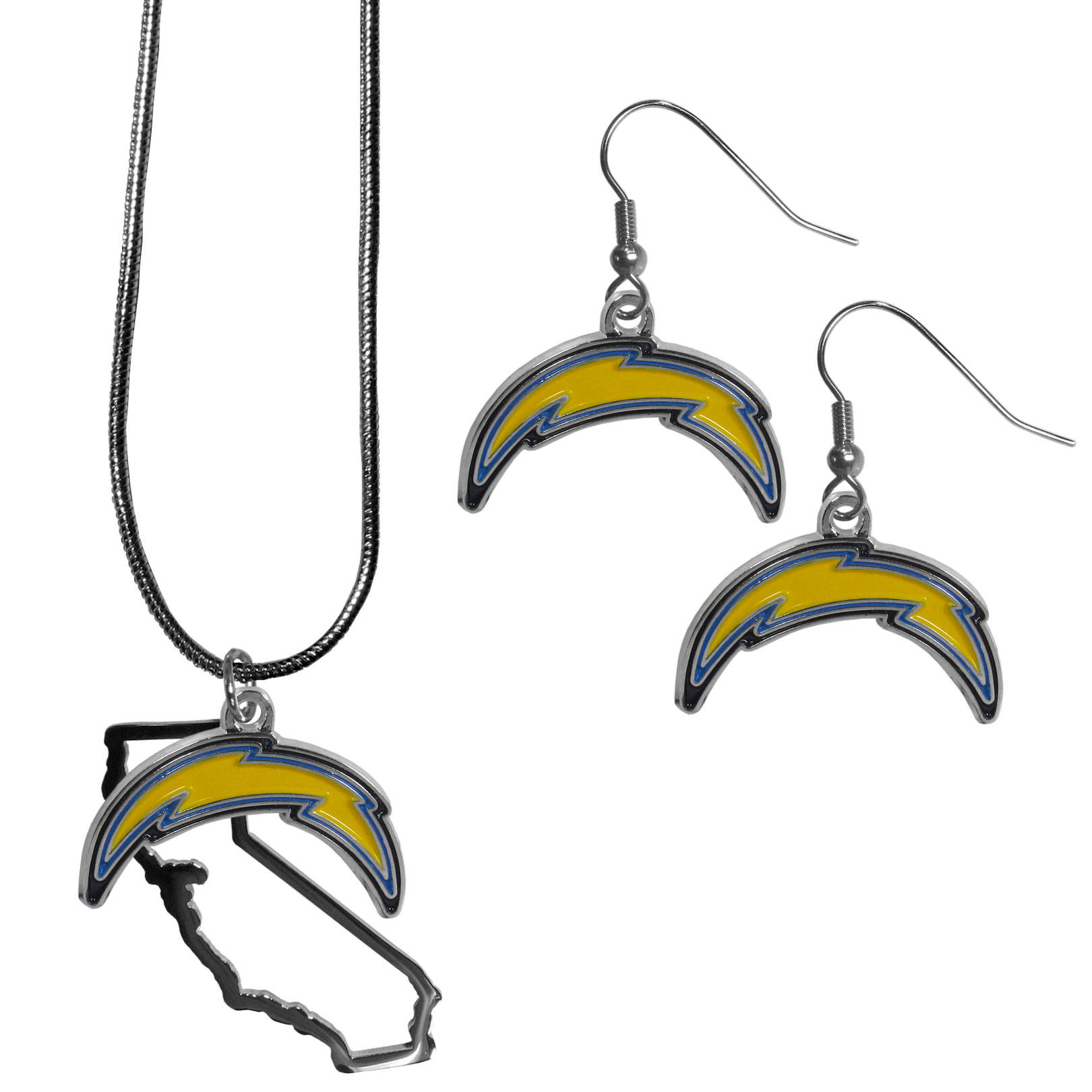 Los Angeles Chargers Dangle Earrings and State Necklace Set - Get in on the trend! State themes are a trend that just keeps getting more popular and this jewelry set takes the state style and give it a sporty twist with a Los Angeles Chargers necklace that features an Arizona state outline charm paired with a beautiful team charm and matching team charm dangle earrings. The earrings feature hypoallergenic fishhook posts that are nickel free.