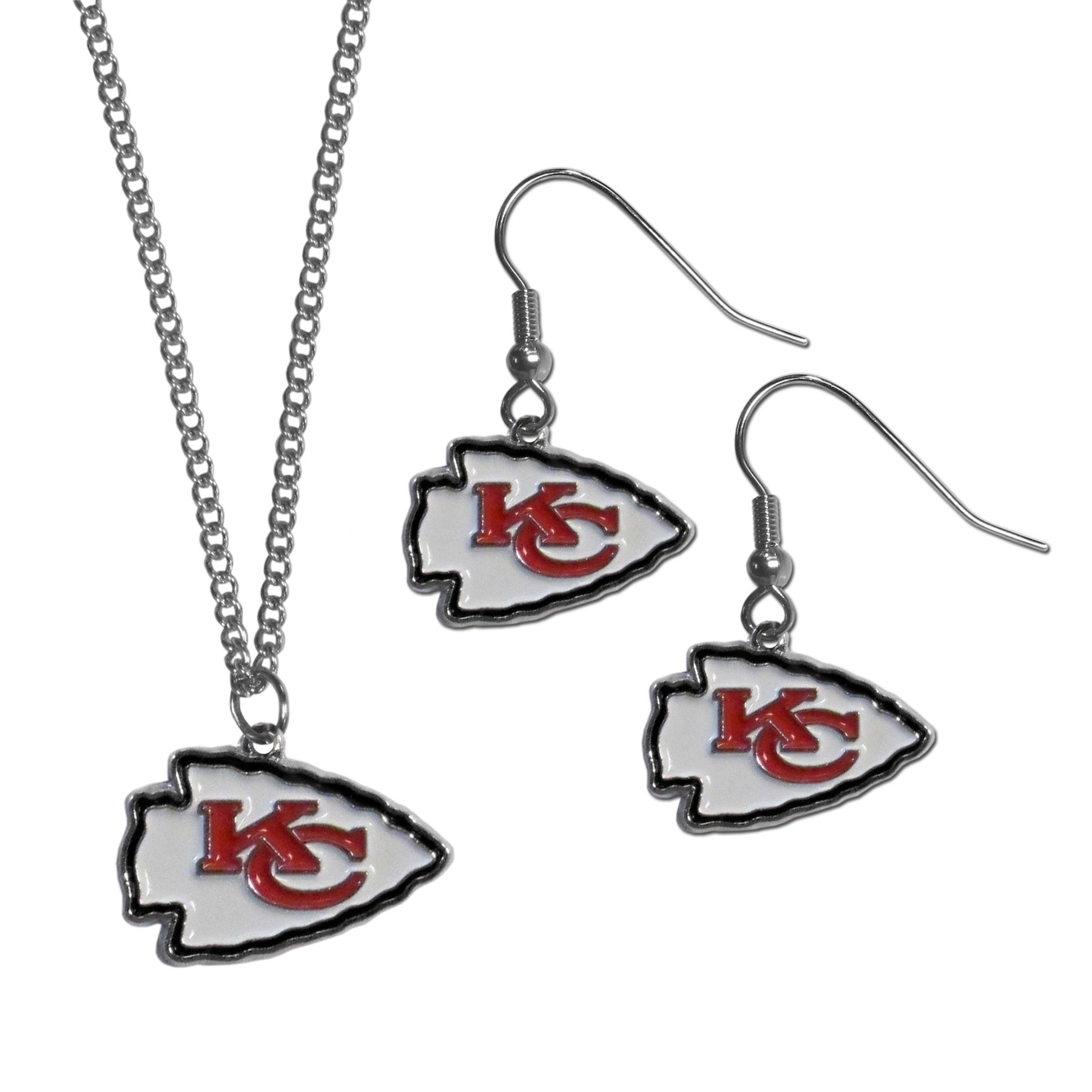 Kansas City Chiefs Dangle Earrings and Chain Necklace Set - This classic jewelry set contains are most popular Kansas City Chiefs dangle earrings and 22 inch chain necklace. The trendy, dangle earrings are lightweight and feature a fully cast metal team charm with enameled team colors. The matching necklace completes this fashion forward combo and is a spirited set that is perfect for game day but nice enough for everyday.