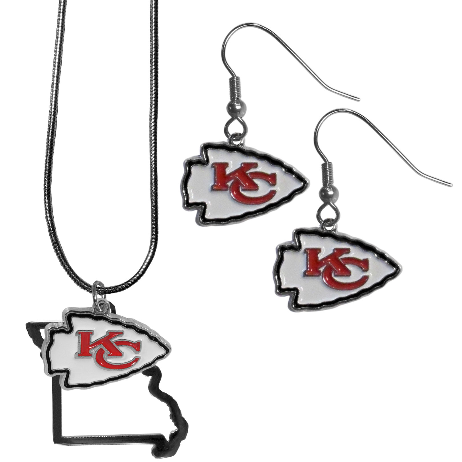 Kansas City Chiefs Dangle Earrings and State Necklace Set - Get in on the trend! State themes are a trend that just keeps getting more popular and this jewelry set takes the state style and give it a sporty twist with a Kansas City Chiefs necklace that features an Arizona state outline charm paired with a beautiful team charm and matching team charm dangle earrings. The earrings feature hypoallergenic fishhook posts that are nickel free.