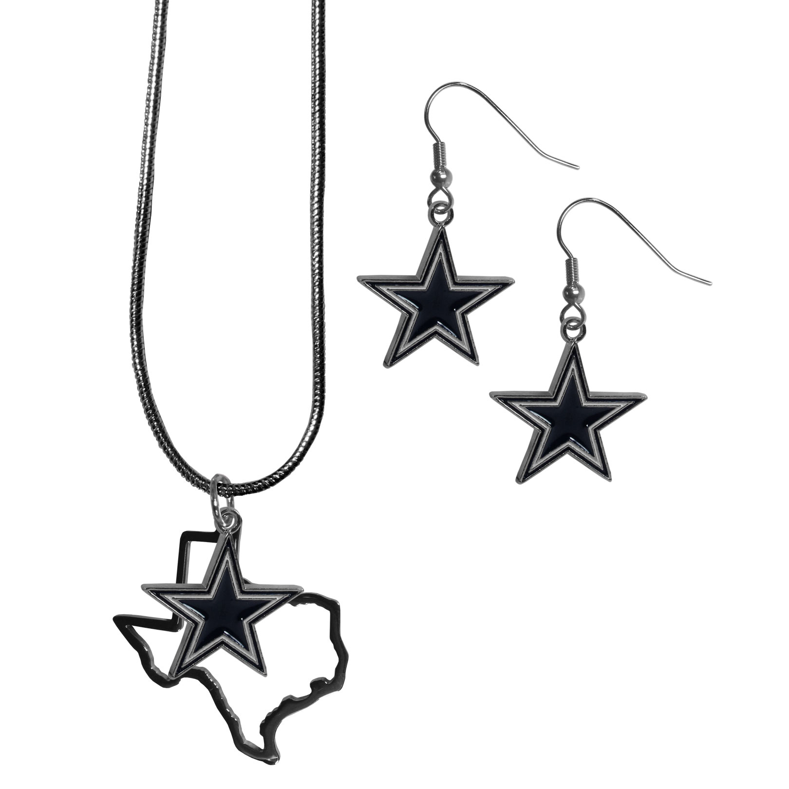Dallas Cowboys Dangle Earrings and State Necklace Set - Get in on the trend! State themes are a trend that just keeps getting more popular and this jewelry set takes the state style and give it a sporty twist with a Dallas Cowboys necklace that features an Arizona state outline charm paired with a beautiful team charm and matching team charm dangle earrings. The earrings feature hypoallergenic fishhook posts that are nickel free.