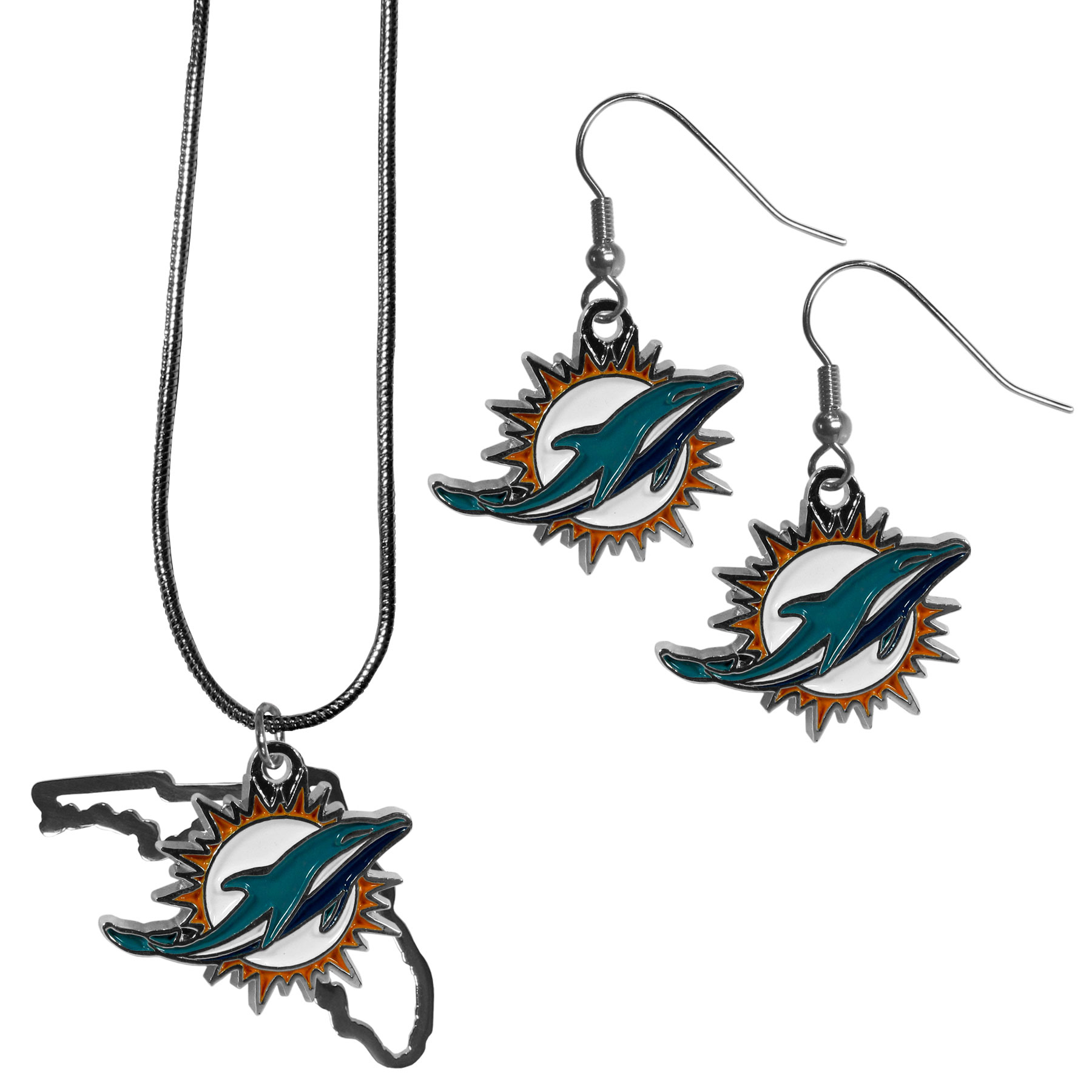 Miami Dolphins Dangle Earrings and State Necklace Set - Get in on the trend! State themes are a trend that just keeps getting more popular and this jewelry set takes the state style and give it a sporty twist with a Miami Dolphins necklace that features an Arizona state outline charm paired with a beautiful team charm and matching team charm dangle earrings. The earrings feature hypoallergenic fishhook posts that are nickel free.