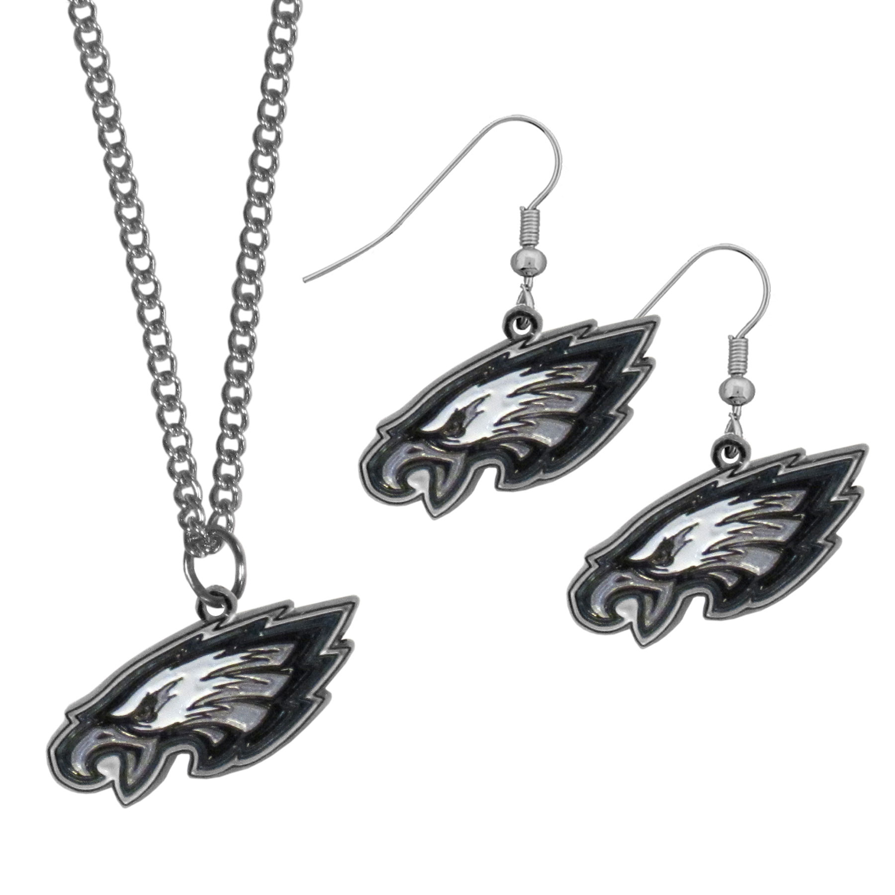 Philadelphia Eagles Dangle Earrings and Chain Necklace Set - This classic jewelry set contains are most popular Philadelphia Eagles dangle earrings and 22 inch chain necklace. The trendy, dangle earrings are lightweight and feature a fully cast metal team charm with enameled team colors. The matching necklace completes this fashion forward combo and is a spirited set that is perfect for game day but nice enough for everyday.
