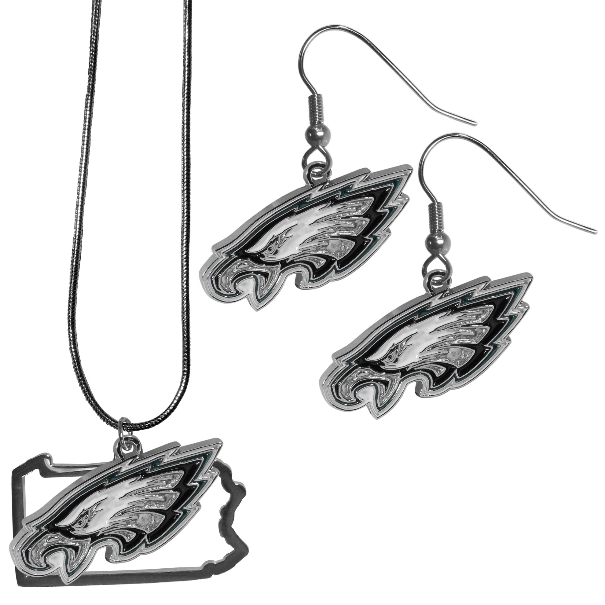 Philadelphia Eagles Dangle Earrings and State Necklace Set - Get in on the trend! State themes are a trend that just keeps getting more popular and this jewelry set takes the state style and give it a sporty twist with a Philadelphia Eagles necklace that features an Arizona state outline charm paired with a beautiful team charm and matching team charm dangle earrings. The earrings feature hypoallergenic fishhook posts that are nickel free.
