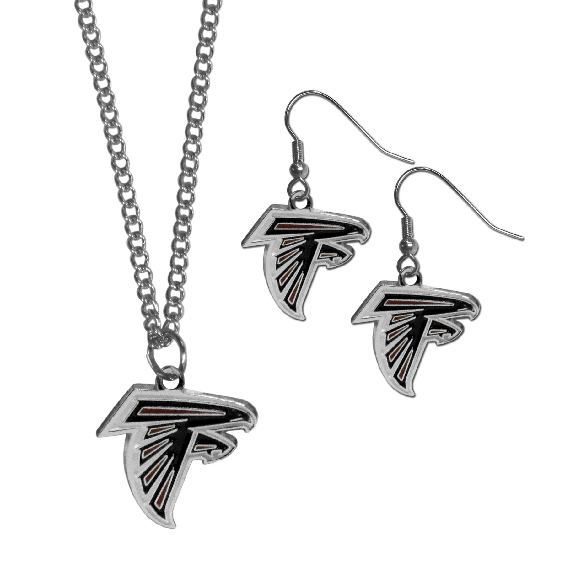 Atlanta Falcons Dangle Earrings and Chain Necklace Set - This classic jewelry set contains are most popular Atlanta Falcons dangle earrings and 22 inch chain necklace. The trendy, dangle earrings are lightweight and feature a fully cast metal team charm with enameled team colors. The matching necklace completes this fashion forward combo and is a spirited set that is perfect for game day but nice enough for everyday.