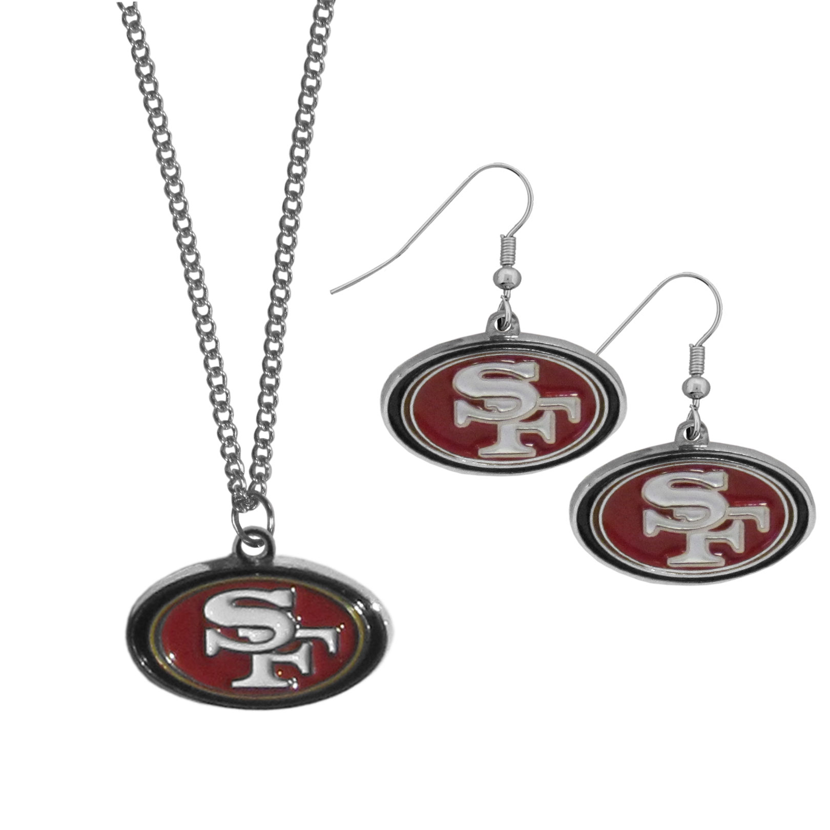 San Francisco 49ers Dangle Earrings and Chain Necklace Set - This classic jewelry set contains are most popular San Francisco 49ers dangle earrings and 22 inch chain necklace. The trendy, dangle earrings are lightweight and feature a fully cast metal team charm with enameled team colors. The matching necklace completes this fashion forward combo and is a spirited set that is perfect for game day but nice enough for everyday.