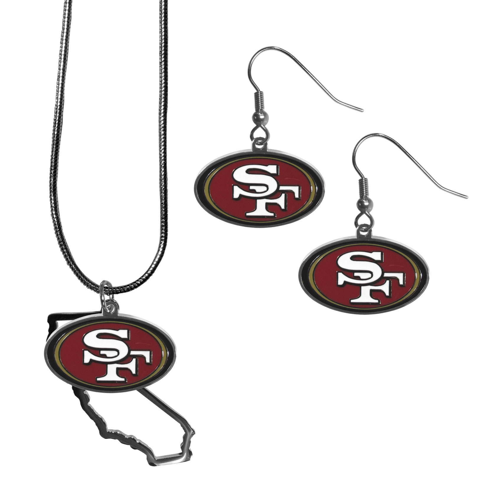 San Francisco 49ers Dangle Earrings and State Necklace Set - Get in on the trend! State themes are a trend that just keeps getting more popular and this jewelry set takes the state style and give it a sporty twist with a San Francisco 49ers necklace that features an Arizona state outline charm paired with a beautiful team charm and matching team charm dangle earrings. The earrings feature hypoallergenic fishhook posts that are nickel free.