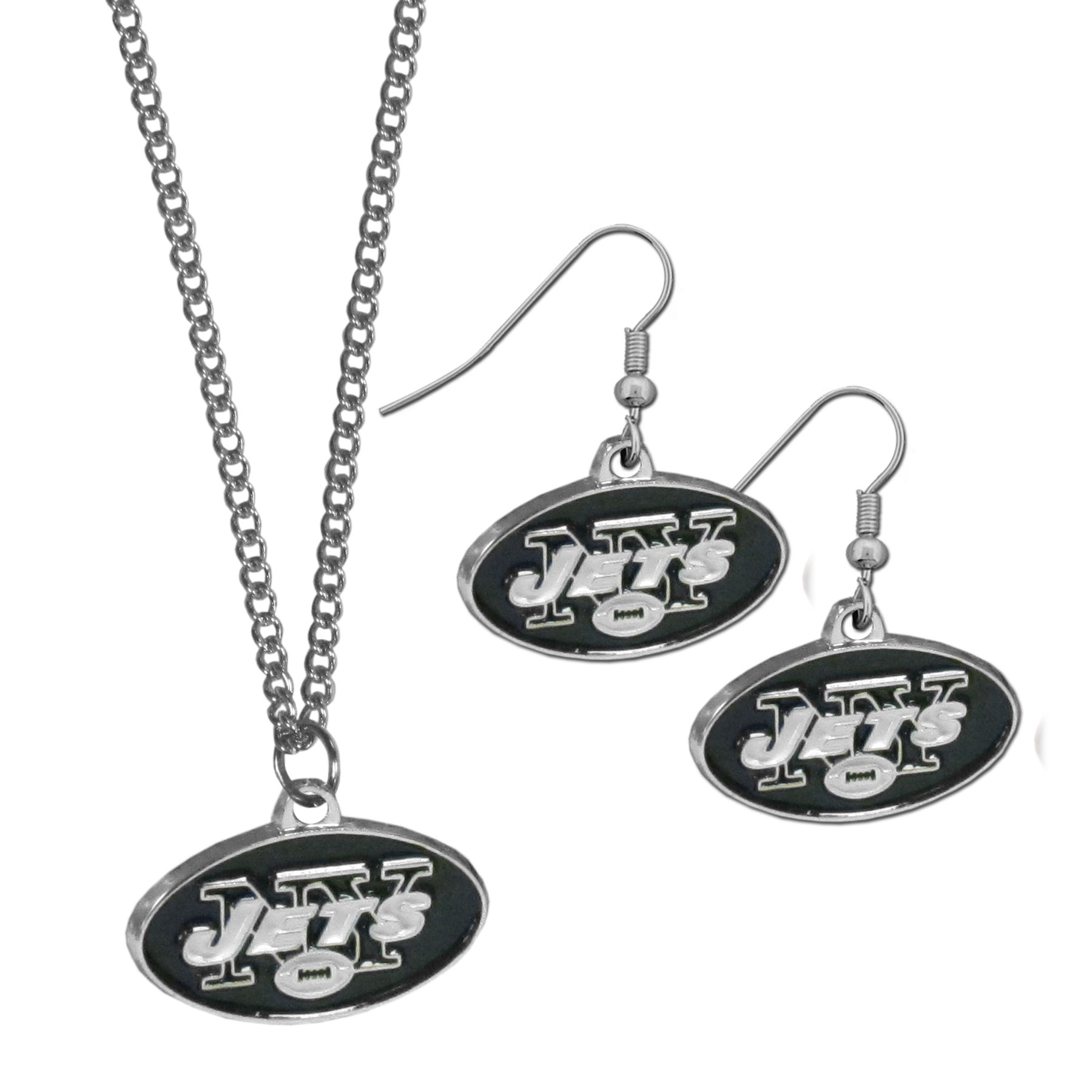 New York Jets Dangle Earrings and Chain Necklace Set - This classic jewelry set contains are most popular New York Jets dangle earrings and 22 inch chain necklace. The trendy, dangle earrings are lightweight and feature a fully cast metal team charm with enameled team colors. The matching necklace completes this fashion forward combo and is a spirited set that is perfect for game day but nice enough for everyday.