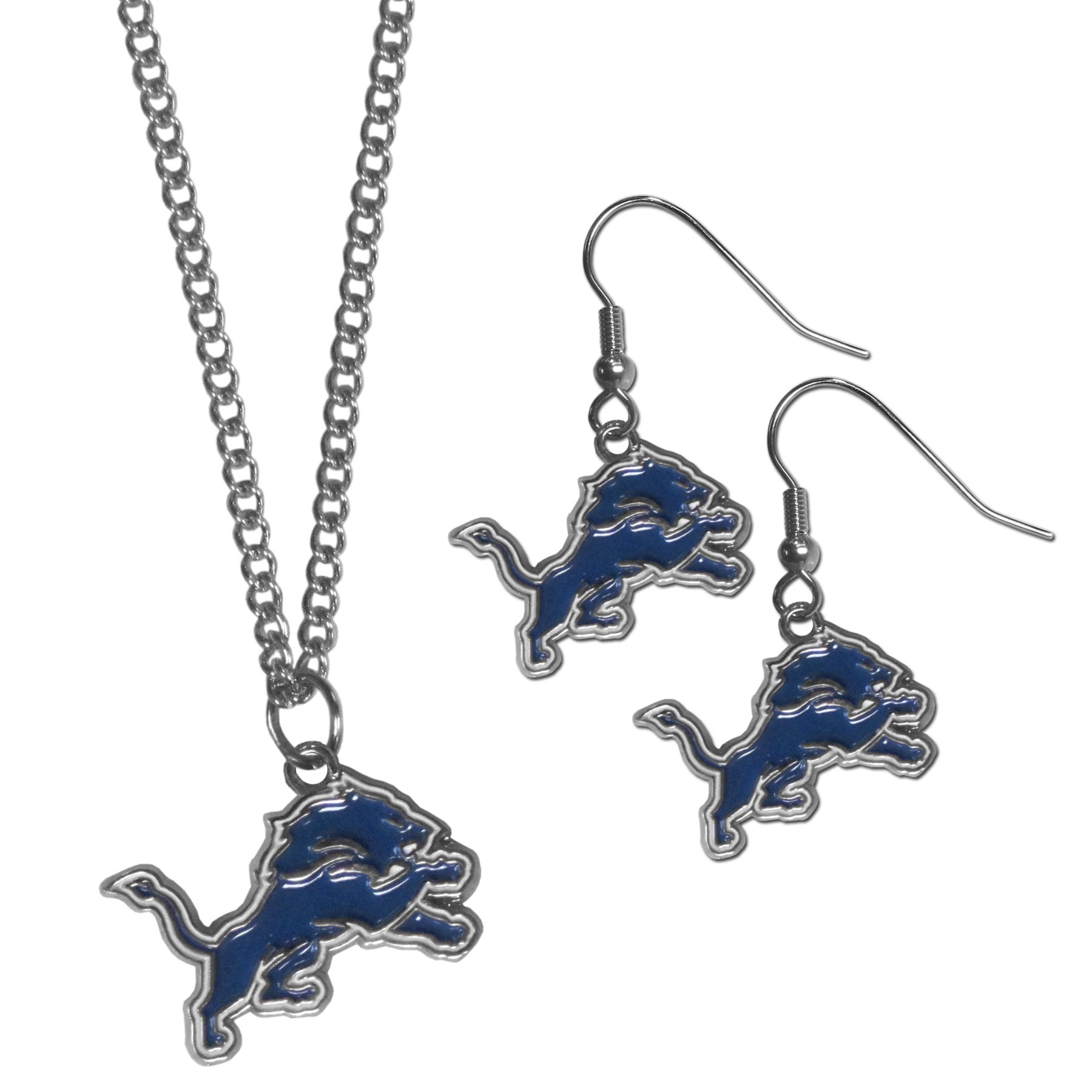 Detroit Lions Dangle Earrings and Chain Necklace Set - This classic jewelry set contains are most popular Detroit Lions dangle earrings and 22 inch chain necklace. The trendy, dangle earrings are lightweight and feature a fully cast metal team charm with enameled team colors. The matching necklace completes this fashion forward combo and is a spirited set that is perfect for game day but nice enough for everyday.
