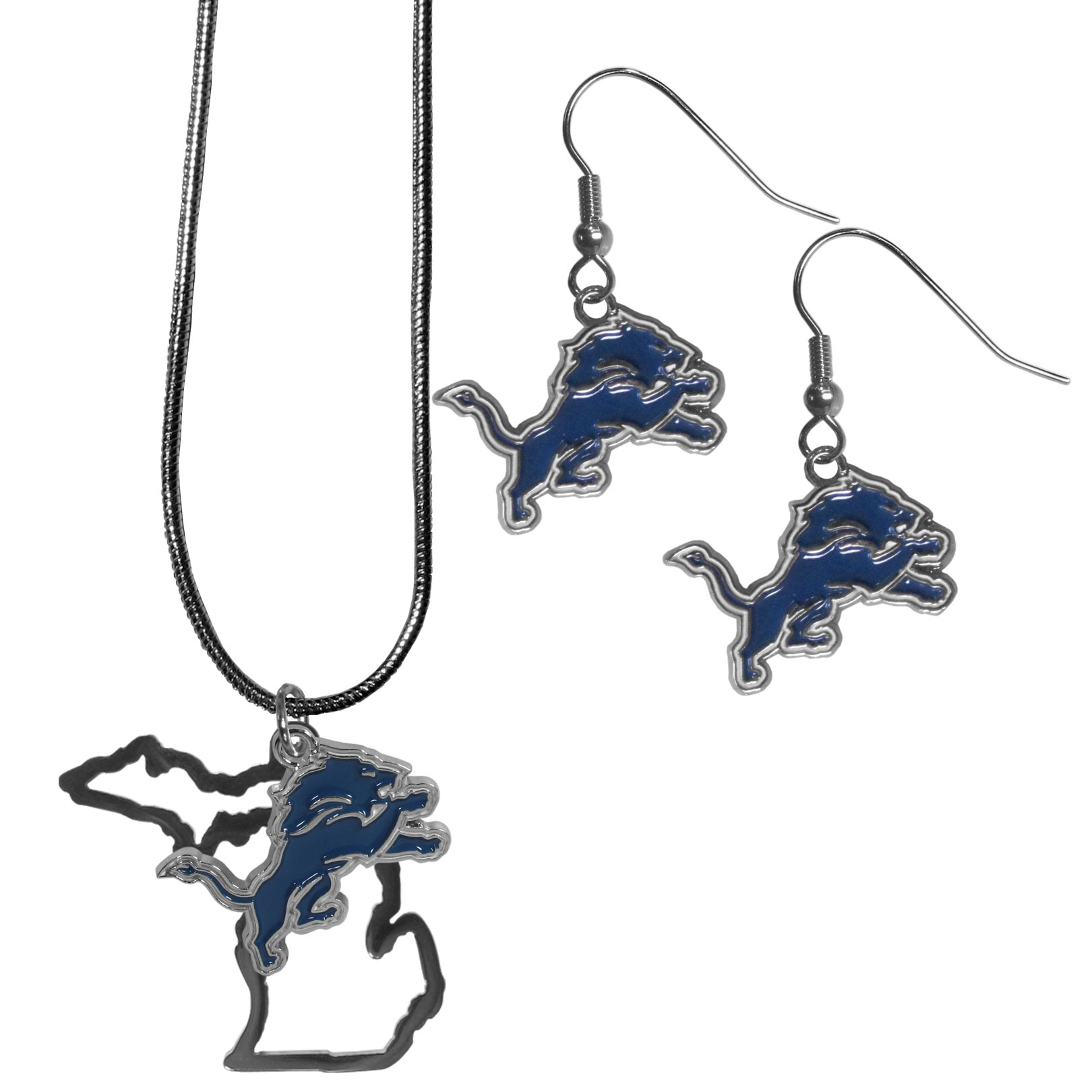 Detroit Lions Dangle Earrings and State Necklace Set - Get in on the trend! State themes are a trend that just keeps getting more popular and this jewelry set takes the state style and give it a sporty twist with a Detroit Lions necklace that features an Arizona state outline charm paired with a beautiful team charm and matching team charm dangle earrings. The earrings feature hypoallergenic fishhook posts that are nickel free.