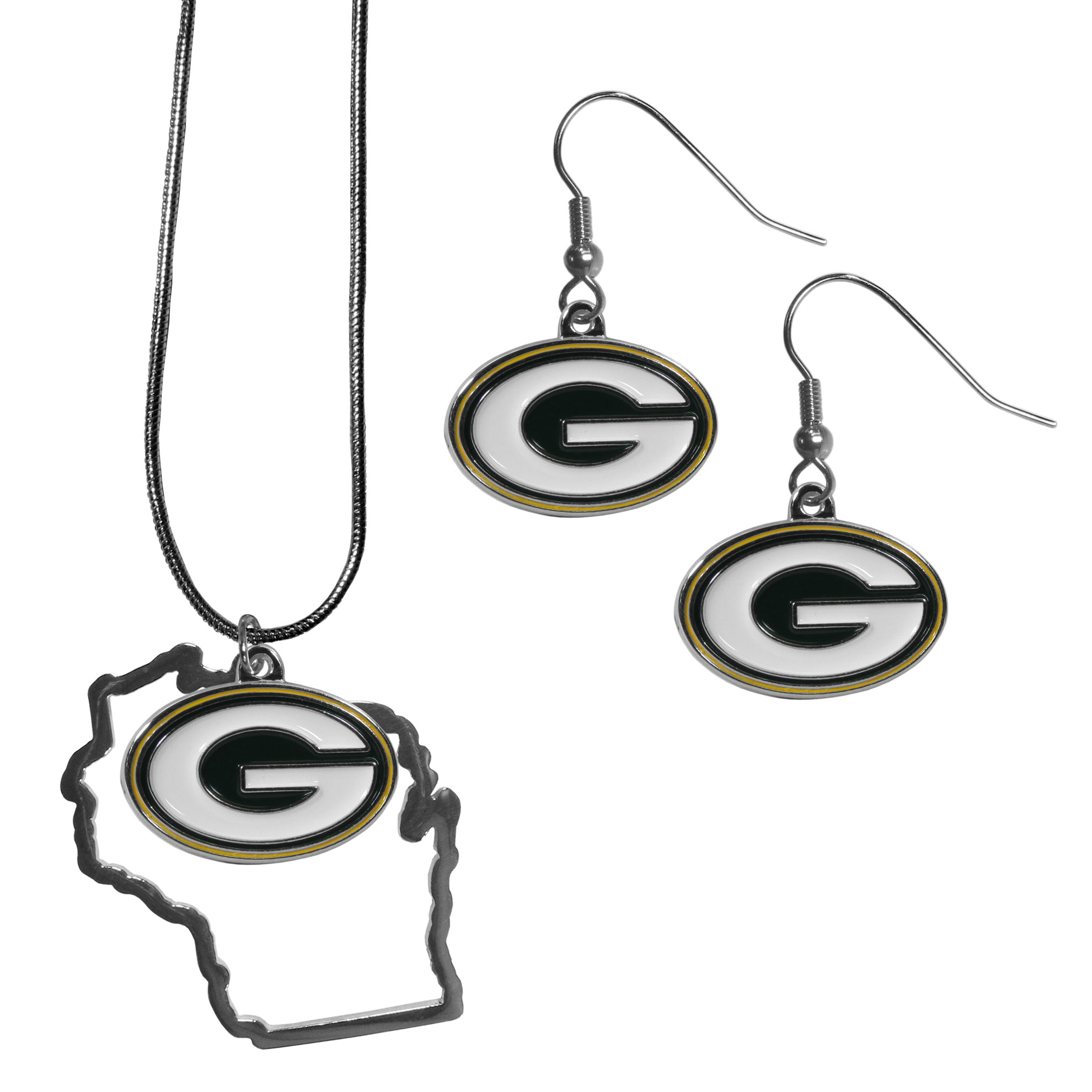 Green Bay Packers Dangle Earrings and State Necklace Set - Get in on the trend! State themes are a trend that just keeps getting more popular and this jewelry set takes the state style and give it a sporty twist with a Green Bay Packers necklace that features an Arizona state outline charm paired with a beautiful team charm and matching team charm dangle earrings. The earrings feature hypoallergenic fishhook posts that are nickel free.