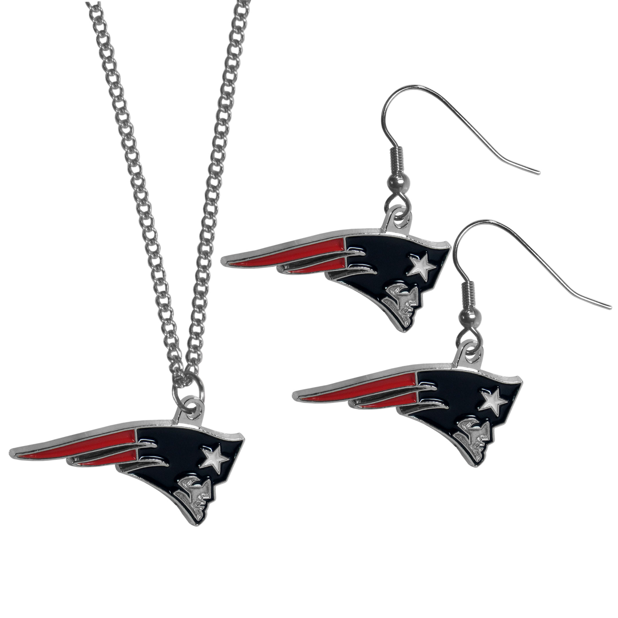New England Patriots Dangle Earrings and Chain Necklace Set - This classic jewelry set contains are most popular New England Patriots dangle earrings and 22 inch chain necklace. The trendy, dangle earrings are lightweight and feature a fully cast metal team charm with enameled team colors. The matching necklace completes this fashion forward combo and is a spirited set that is perfect for game day but nice enough for everyday.