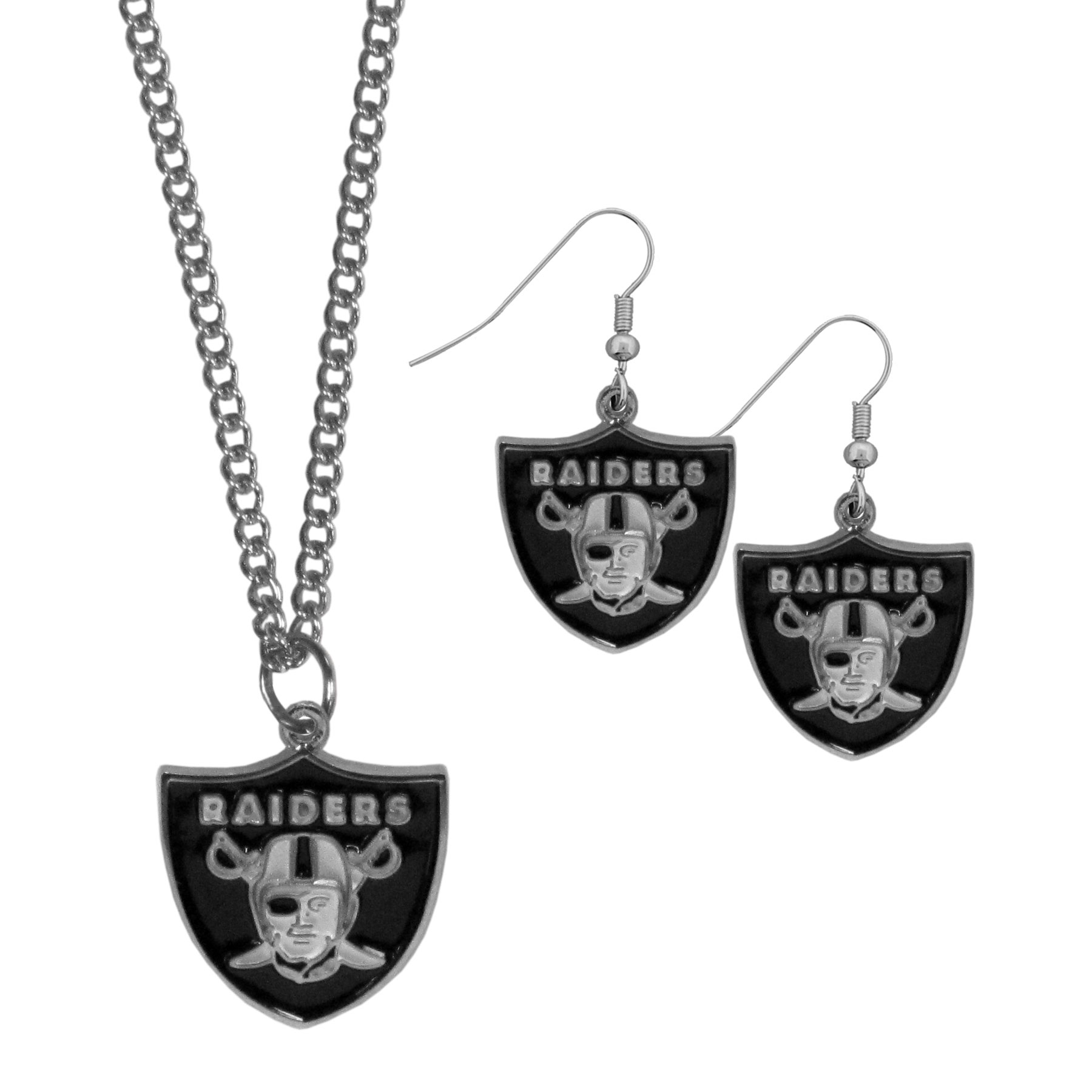 Oakland Raiders Dangle Earrings and Chain Necklace Set - This classic jewelry set contains are most popular Oakland Raiders dangle earrings and 22 inch chain necklace. The trendy, dangle earrings are lightweight and feature a fully cast metal team charm with enameled team colors. The matching necklace completes this fashion forward combo and is a spirited set that is perfect for game day but nice enough for everyday.