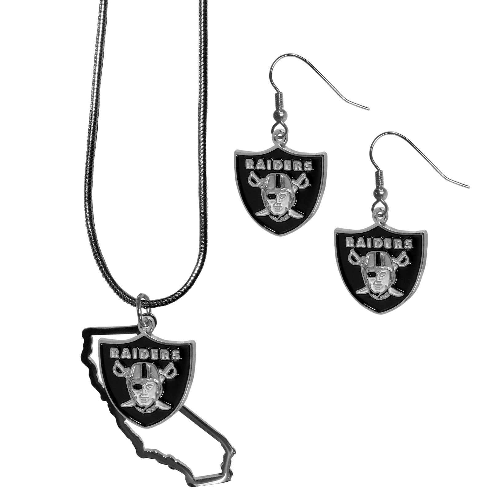 Oakland Raiders Dangle Earrings and State Necklace Set - Get in on the trend! State themes are a trend that just keeps getting more popular and this jewelry set takes the state style and give it a sporty twist with a Oakland Raiders necklace that features an Arizona state outline charm paired with a beautiful team charm and matching team charm dangle earrings. The earrings feature hypoallergenic fishhook posts that are nickel free.