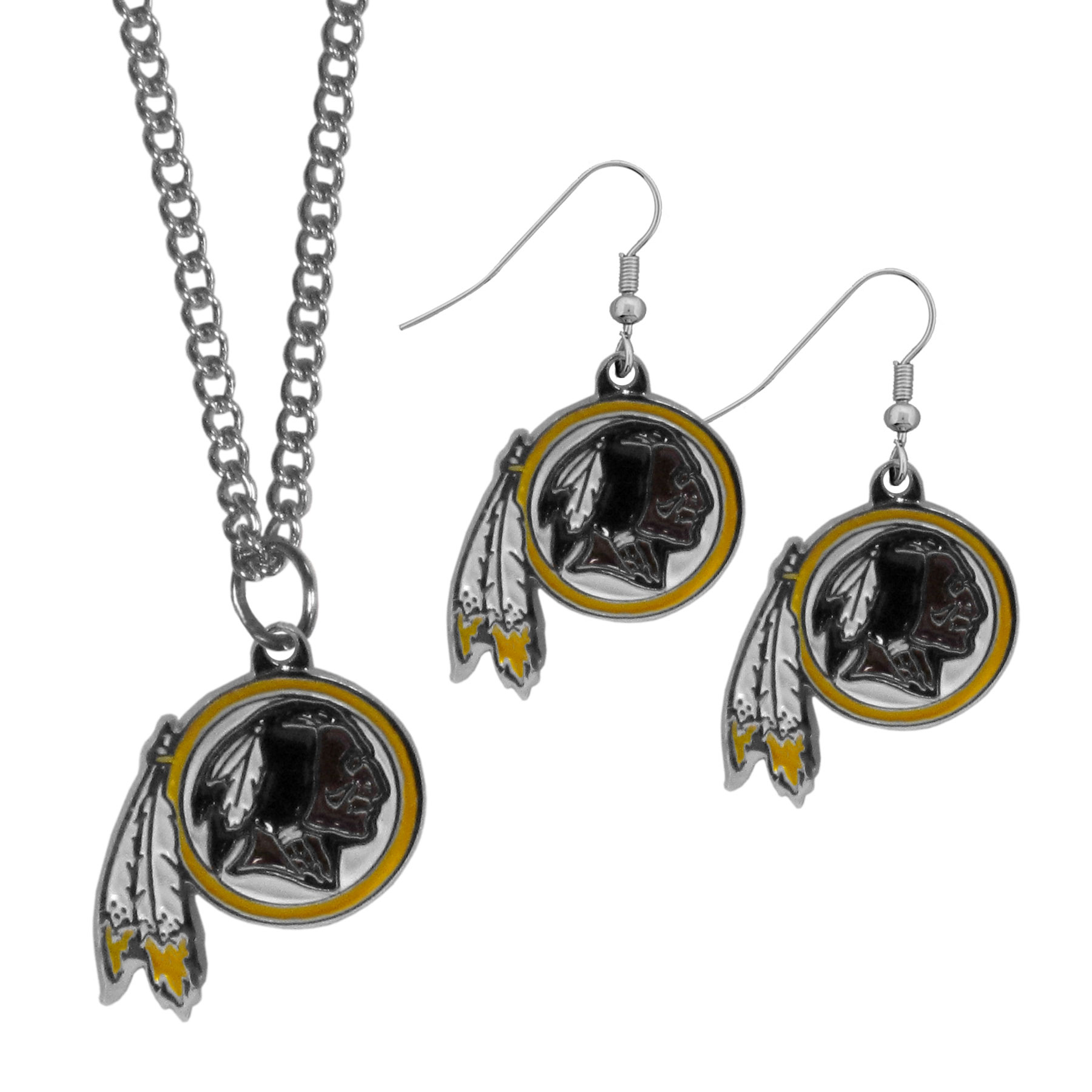Washington Redskins Dangle Earrings and Chain Necklace Set - This classic jewelry set contains are most popular Washington Redskins dangle earrings and 22 inch chain necklace. The trendy, dangle earrings are lightweight and feature a fully cast metal team charm with enameled team colors. The matching necklace completes this fashion forward combo and is a spirited set that is perfect for game day but nice enough for everyday.