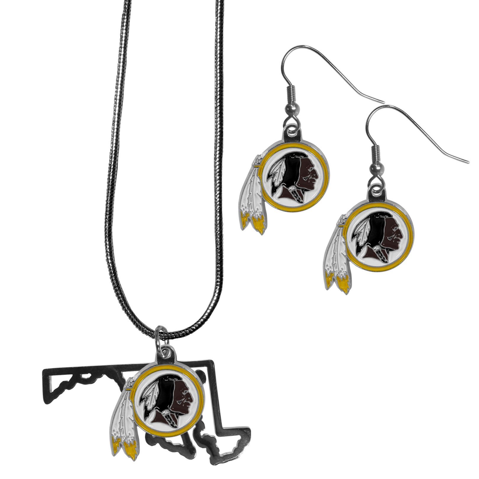 Washington Redskins Dangle Earrings and State Necklace Set - Get in on the trend! State themes are a trend that just keeps getting more popular and this jewelry set takes the state style and give it a sporty twist with a Washington Redskins necklace that features an Arizona state outline charm paired with a beautiful team charm and matching team charm dangle earrings. The earrings feature hypoallergenic fishhook posts that are nickel free.
