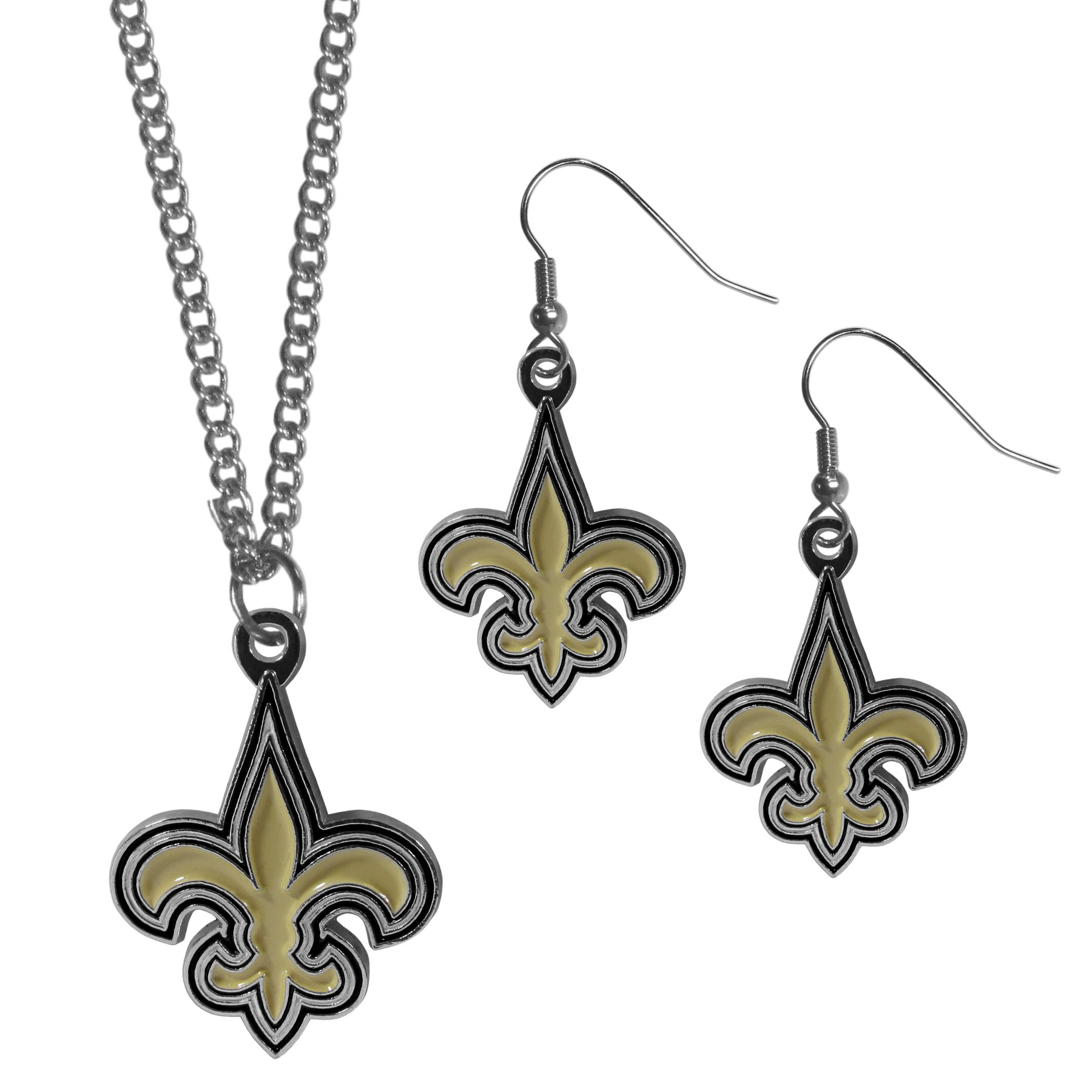 New Orleans Saints Dangle Earrings and Chain Necklace Set - This classic jewelry set contains are most popular New Orleans Saints dangle earrings and 22 inch chain necklace. The trendy, dangle earrings are lightweight and feature a fully cast metal team charm with enameled team colors. The matching necklace completes this fashion forward combo and is a spirited set that is perfect for game day but nice enough for everyday.
