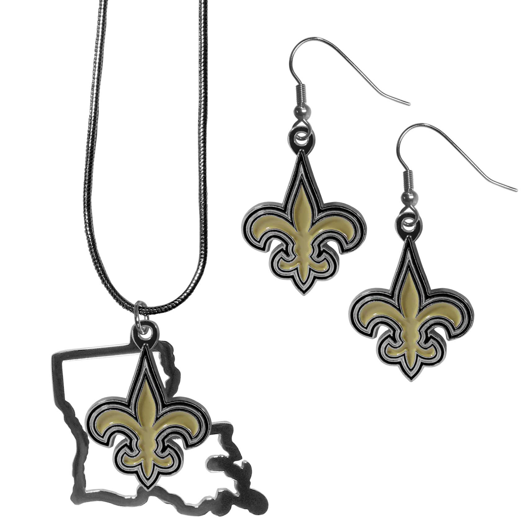 New Orleans Saints Dangle Earrings and State Necklace Set - Get in on the trend! State themes are a trend that just keeps getting more popular and this jewelry set takes the state style and give it a sporty twist with a New Orleans Saints necklace that features an Arizona state outline charm paired with a beautiful team charm and matching team charm dangle earrings. The earrings feature hypoallergenic fishhook posts that are nickel free.