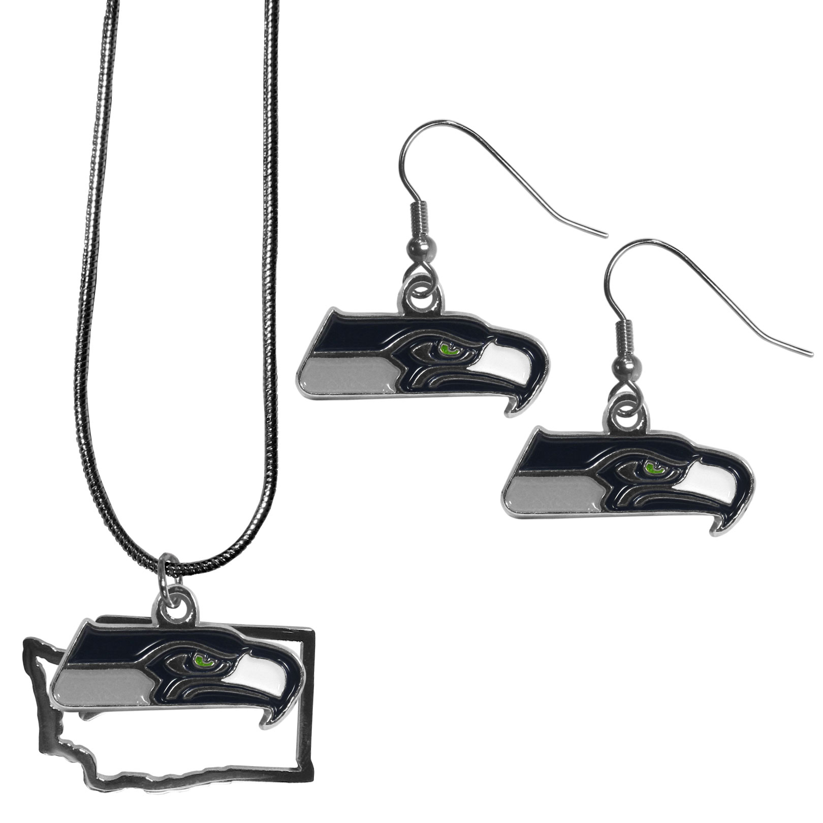 Seattle Seahawks Dangle Earrings and State Necklace Set - Get in on the trend! State themes are a trend that just keeps getting more popular and this jewelry set takes the state style and give it a sporty twist with a Seattle Seahawks necklace that features an Arizona state outline charm paired with a beautiful team charm and matching team charm dangle earrings. The earrings feature hypoallergenic fishhook posts that are nickel free.