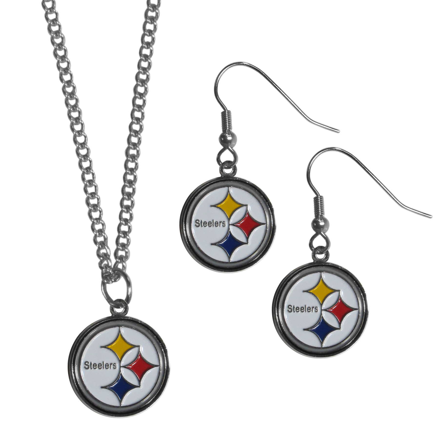 Pittsburgh Steelers Dangle Earrings and Chain Necklace Set - This classic jewelry set contains are most popular Pittsburgh Steelers dangle earrings and 22 inch chain necklace. The trendy, dangle earrings are lightweight and feature a fully cast metal team charm with enameled team colors. The matching necklace completes this fashion forward combo and is a spirited set that is perfect for game day but nice enough for everyday.