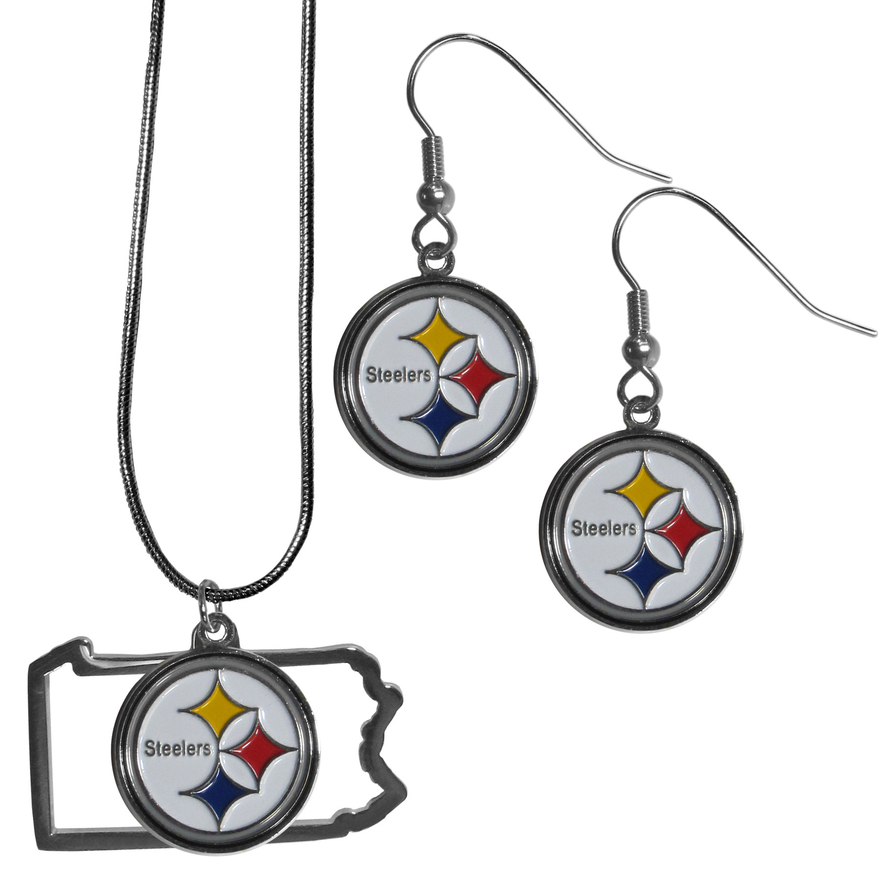 Pittsburgh Steelers Dangle Earrings and State Necklace Set - Get in on the trend! State themes are a trend that just keeps getting more popular and this jewelry set takes the state style and give it a sporty twist with a Pittsburgh Steelers necklace that features an Arizona state outline charm paired with a beautiful team charm and matching team charm dangle earrings. The earrings feature hypoallergenic fishhook posts that are nickel free.