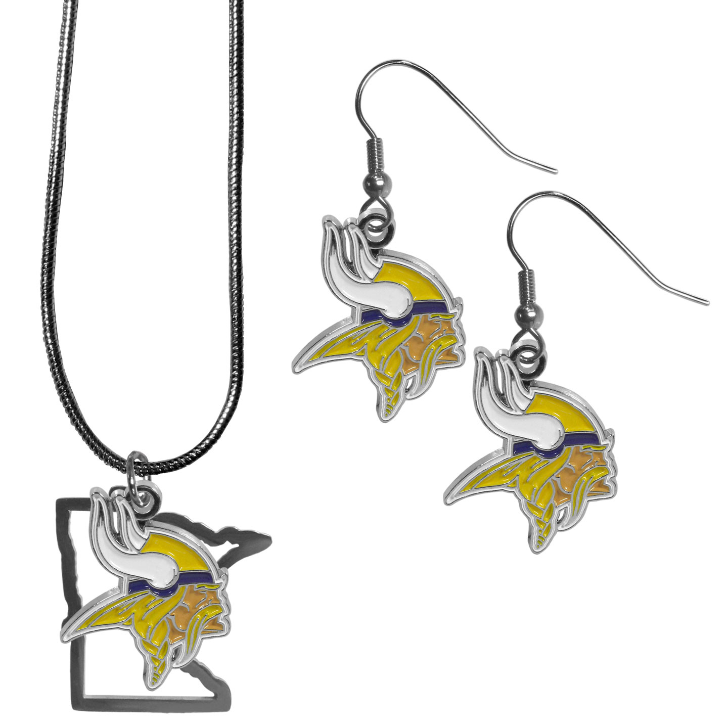 Minnesota Vikings Dangle Earrings and State Necklace Set - Get in on the trend! State themes are a trend that just keeps getting more popular and this jewelry set takes the state style and give it a sporty twist with a Minnesota Vikings necklace that features an Arizona state outline charm paired with a beautiful team charm and matching team charm dangle earrings. The earrings feature hypoallergenic fishhook posts that are nickel free.