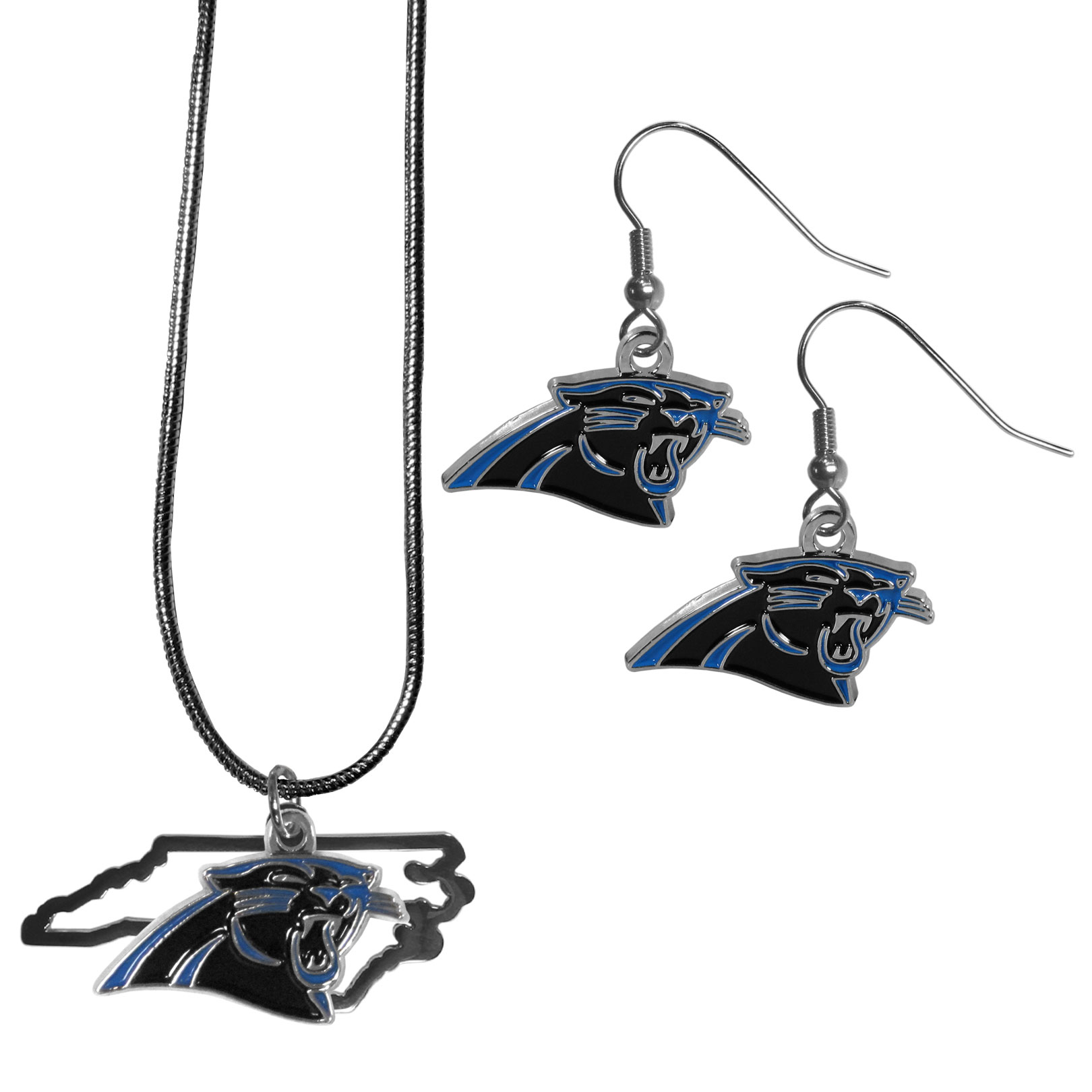 Carolina Panthers Dangle Earrings and State Necklace Set - Get in on the trend! State themes are a trend that just keeps getting more popular and this jewelry set takes the state style and give it a sporty twist with a Carolina Panthers necklace that features an Arizona state outline charm paired with a beautiful team charm and matching team charm dangle earrings. The earrings feature hypoallergenic fishhook posts that are nickel free.