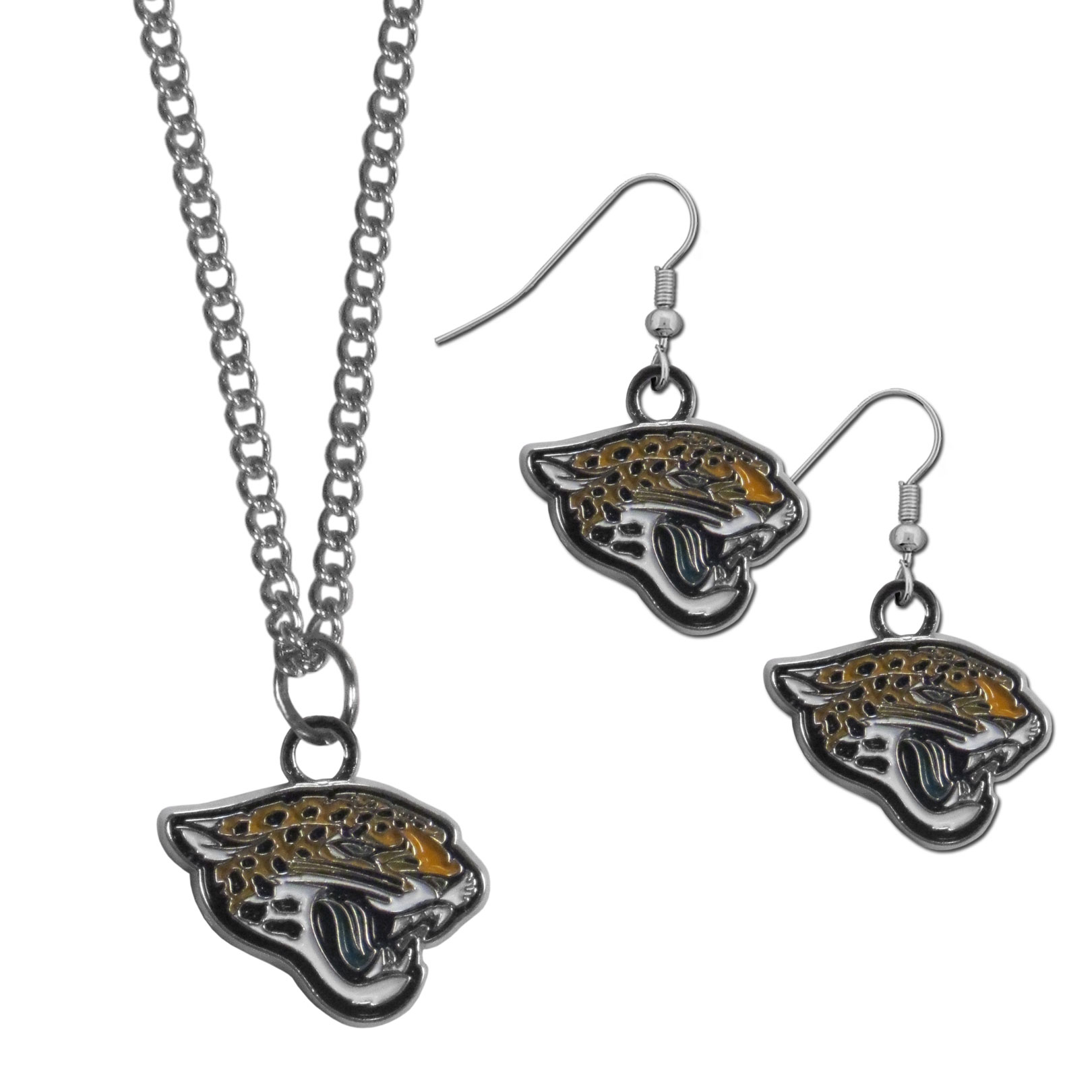 Jacksonville Jaguars Dangle Earrings and Chain Necklace Set - This classic jewelry set contains are most popular Jacksonville Jaguars dangle earrings and 22 inch chain necklace. The trendy, dangle earrings are lightweight and feature a fully cast metal team charm with enameled team colors. The matching necklace completes this fashion forward combo and is a spirited set that is perfect for game day but nice enough for everyday.