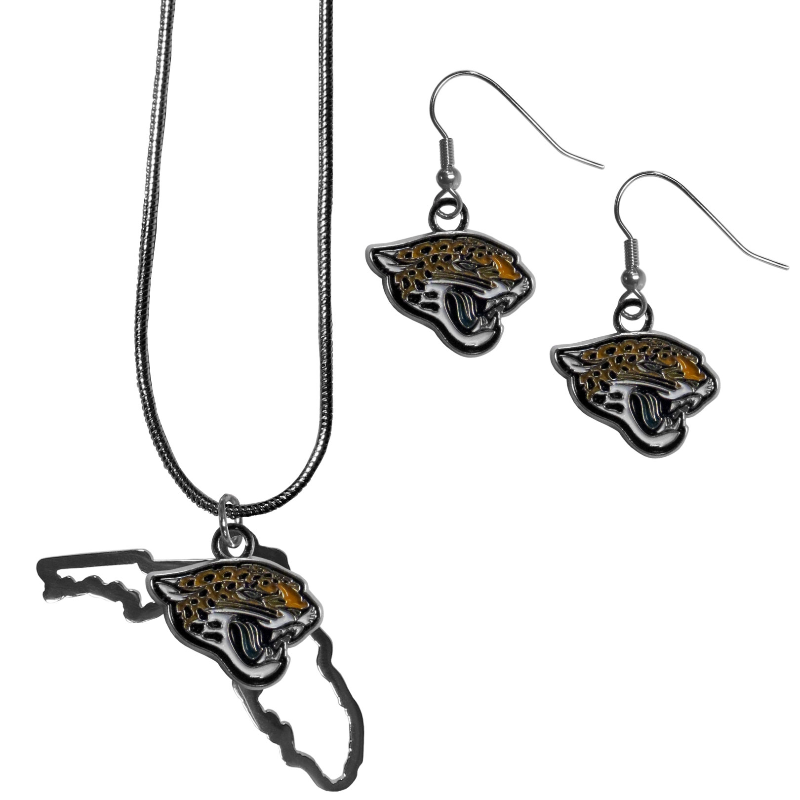 Jacksonville Jaguars Dangle Earrings and State Necklace Set - Get in on the trend! State themes are a trend that just keeps getting more popular and this jewelry set takes the state style and give it a sporty twist with a  necklace that features an Arizona state outline charm paired with a beautiful team charm and matching team charm dangle earrings. The earrings feature hypoallergenic fishhook posts that are nickel free.