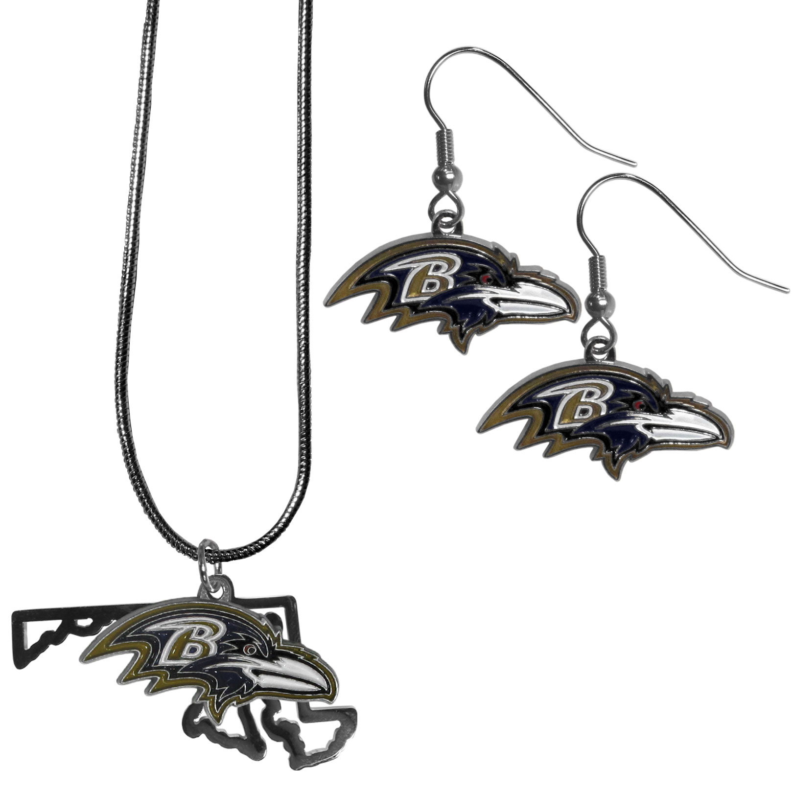 Baltimore Ravens Dangle Earrings and State Necklace Set - Get in on the trend! State themes are a trend that just keeps getting more popular and this jewelry set takes the state style and give it a sporty twist with a Baltimore Ravens necklace that features an Arizona state outline charm paired with a beautiful team charm and matching team charm dangle earrings. The earrings feature hypoallergenic fishhook posts that are nickel free.