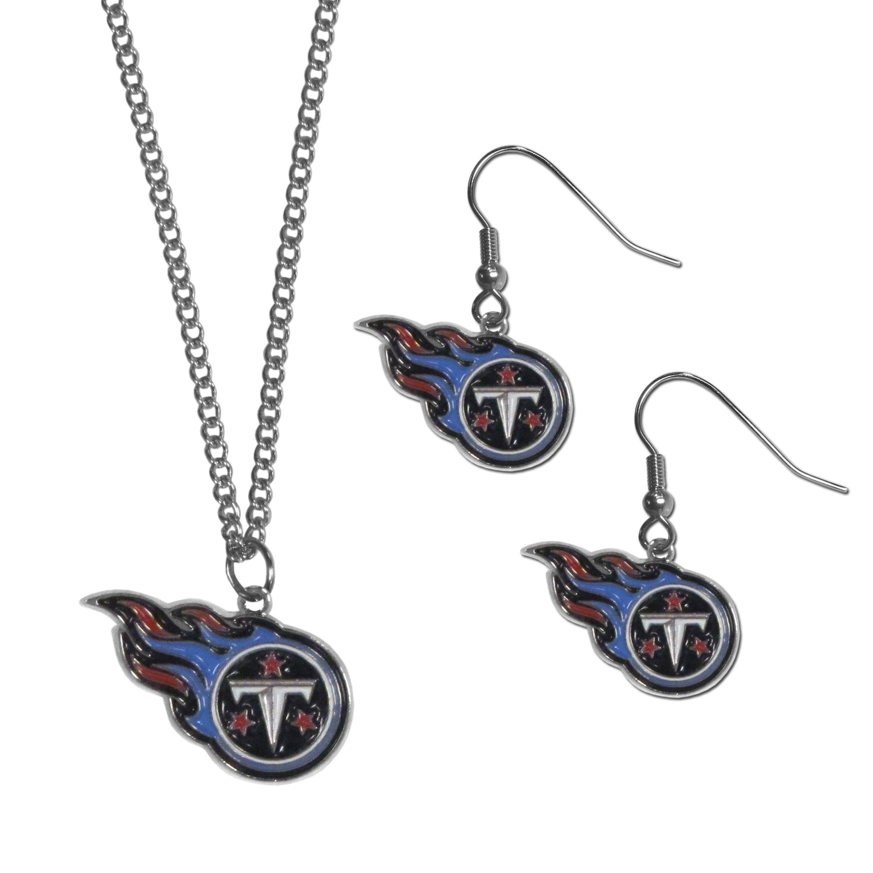 Tennessee Titans Dangle Earrings and Chain Necklace Set - This classic jewelry set contains are most popular Tennessee Titans dangle earrings and 22 inch chain necklace. The trendy, dangle earrings are lightweight and feature a fully cast metal team charm with enameled team colors. The matching necklace completes this fashion forward combo and is a spirited set that is perfect for game day but nice enough for everyday.