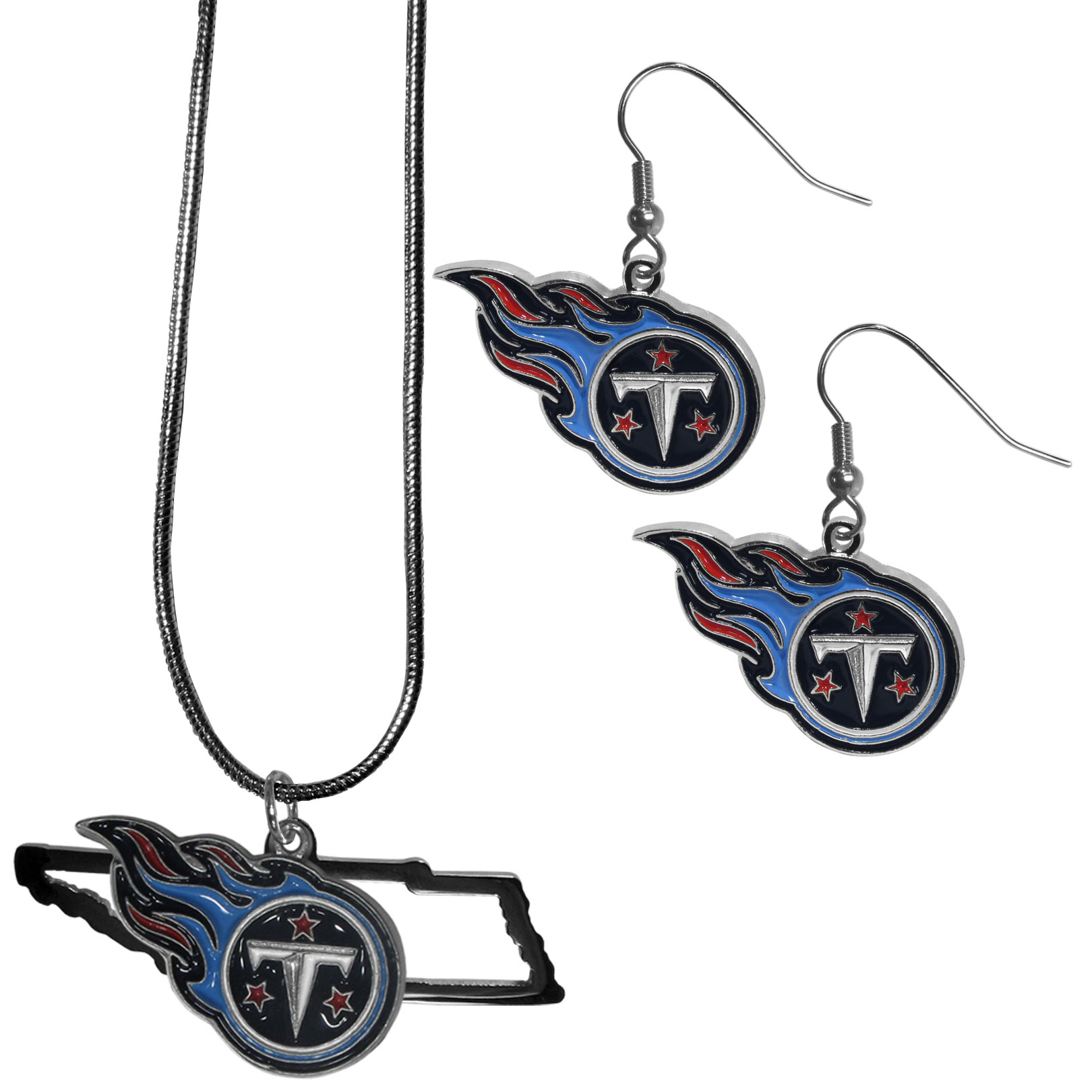 Tennessee Titans Dangle Earrings and State Necklace Set - Get in on the trend! State themes are a trend that just keeps getting more popular and this jewelry set takes the state style and give it a sporty twist with a Tennessee Titans necklace that features an Arizona state outline charm paired with a beautiful team charm and matching team charm dangle earrings. The earrings feature hypoallergenic fishhook posts that are nickel free.