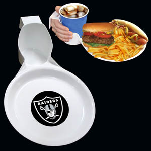 Oakland Raiders Drink & Plate 2pk - The Oakland Raiders drink & plate is perfect for outdoor and indoor events this unique plate allows you to hold your drink and food comfortable in one hand. The plate features an attractive team logo. You can use the sturdy plate on its own or you can use it as a strong base for paper plates.  Officially licensed NFL product Licensee: Siskiyou Buckle Thank you for visiting CrazedOutSports.com