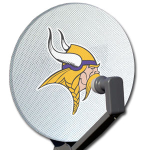 "NFL Dish Cover - Minnesota Vikings - Our NFL dish covers are made of a patented nylon mesh material that does not interfere with the satelite signal and features a screen printed team logo. The mesh material with elastic rim fits easily over all standard satelite dishes 18""-20"". Officially licensed NFL product Licensee: Siskiyou Buckle .com"