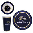 Baltimore Ravens 12 pc Melamine Dish Set - We live on a green planet, and why not be green when we are tailgating or throwing a watch party for our favorite team! Siskiyou's brand new 12 piece Melamine Baltimore Ravens Dish set is the perfect way to do your part for the environment while showing your team pride! The set comes with 4 plates,  4 bowls and 4 cups and adds that perfect touch of spirit to your party. Also great for every day use. Dishwasher safe. Officially licensed NFL product Licensee: Siskiyou Buckle .com