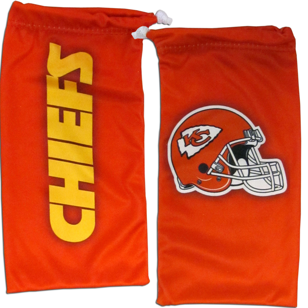 Kansas City Chiefs Microfiber Sunglass Bag - Our officially licensed, soft microfiber glasses bag  with the Kansas City Chiefs logo on one side and the team name on the other. The microfiber bag protects your glasses from scratches and can be used as a cleaning cloth.