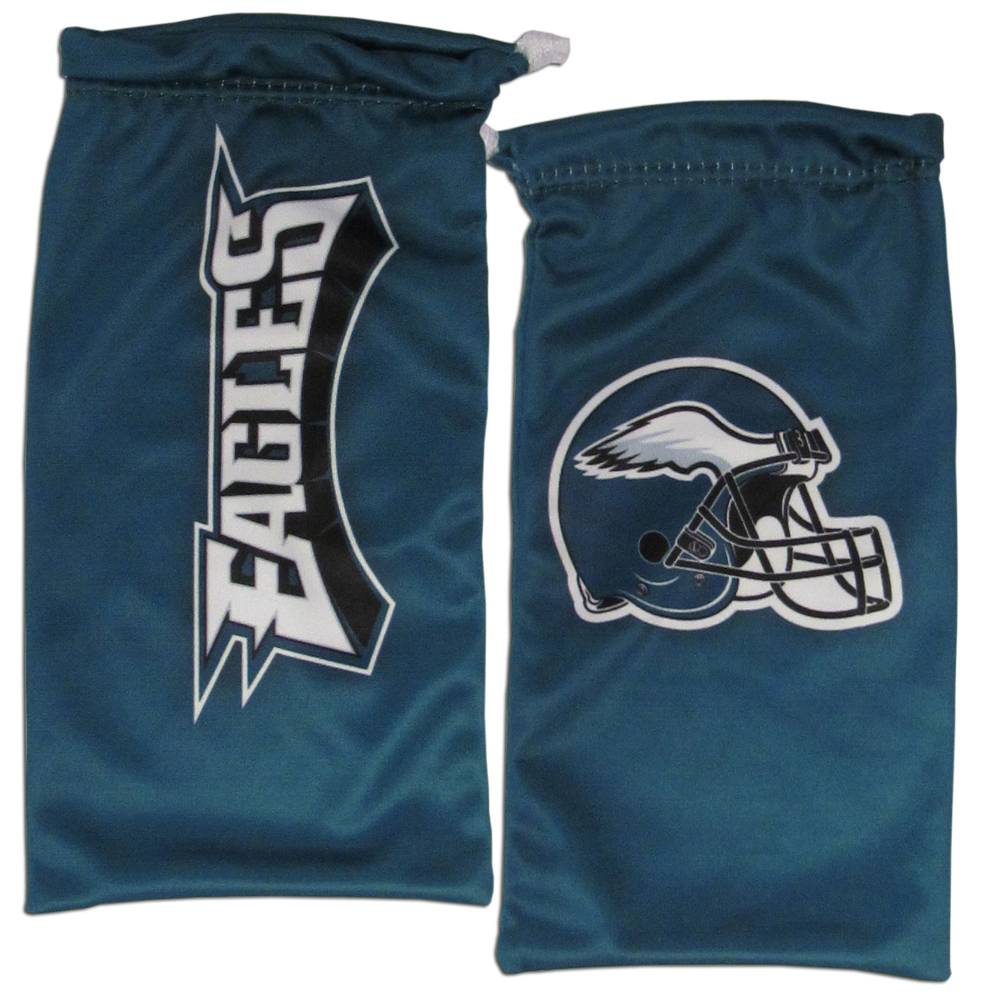 Philadelphia Eagles Microfiber Sunglass Bag - Our officially licensed, soft microfiber glasses bag  with the Philadelphia Eagles logo on one side and the team name on the other. The microfiber bag protects your glasses from scratches and can be used as a cleaning cloth.