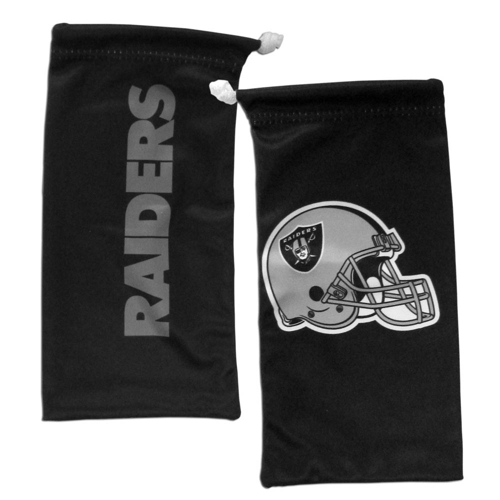 Oakland Raiders Microfiber Sunglass Bag - Our officially licensed, soft microfiber glasses bag  with the Oakland Raiders logo on one side and the team name on the other. The microfiber bag protects your glasses from scratches and can be used as a cleaning cloth.