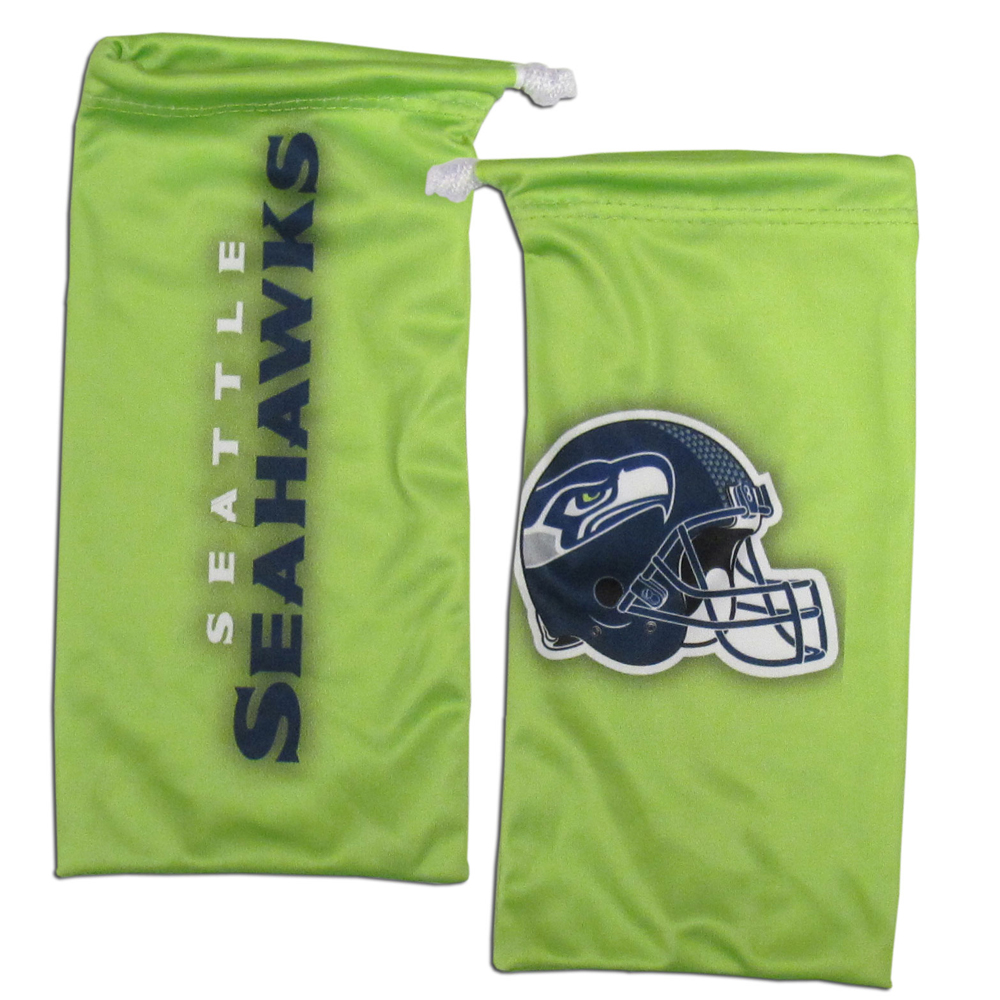 Seattle Seahawks Microfiber Sunglass Bag - Our officially licensed, soft microfiber glasses bag  with the Seattle Seahawks logo on one side and the team name on the other. The microfiber bag protects your glasses from scratches and can be used as a cleaning cloth.
