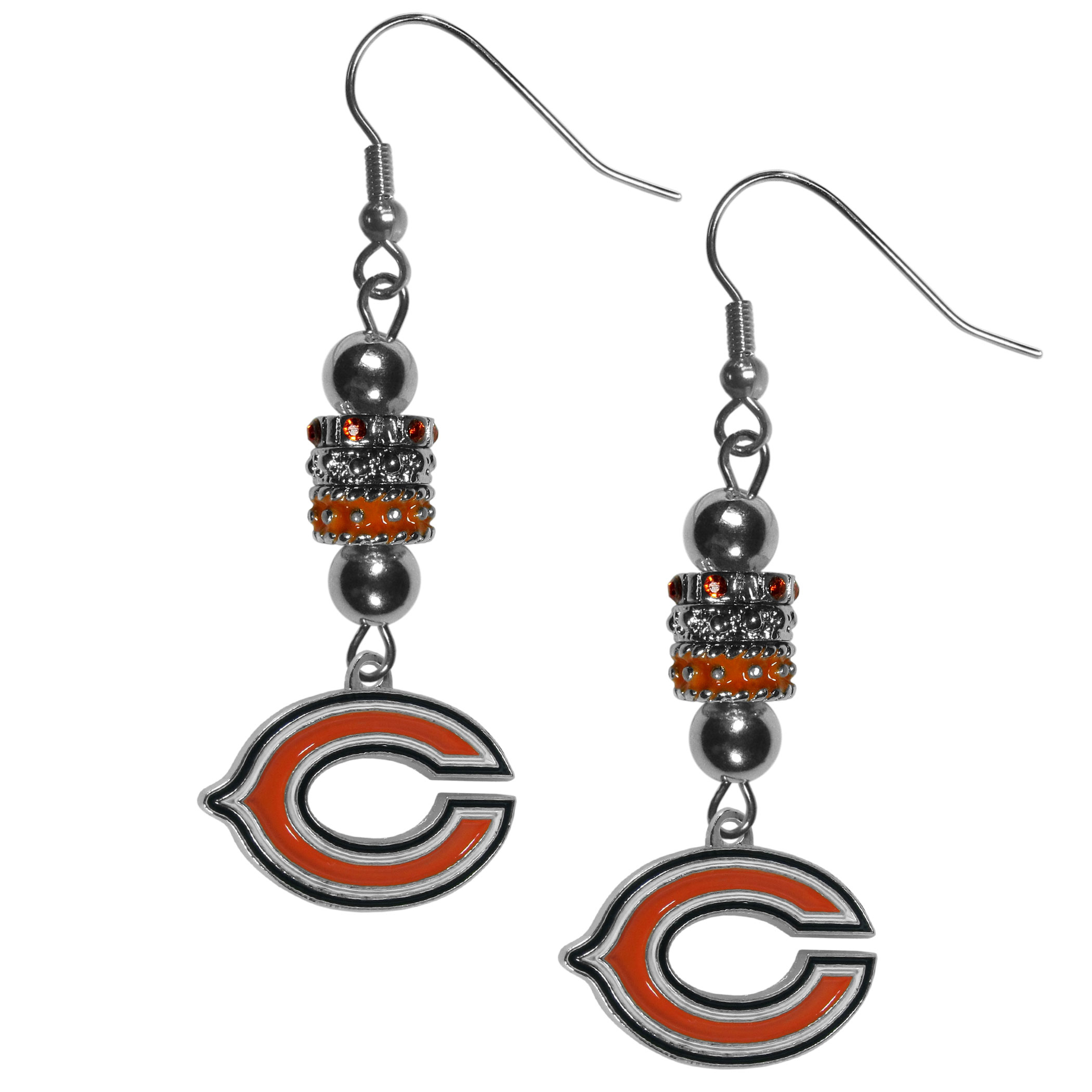 Chicago Bears Euro Bead Earrings - These beautiful euro style earrings feature 3 euro beads and a detailed Chicago Bears charm on hypoallergenic fishhook posts.