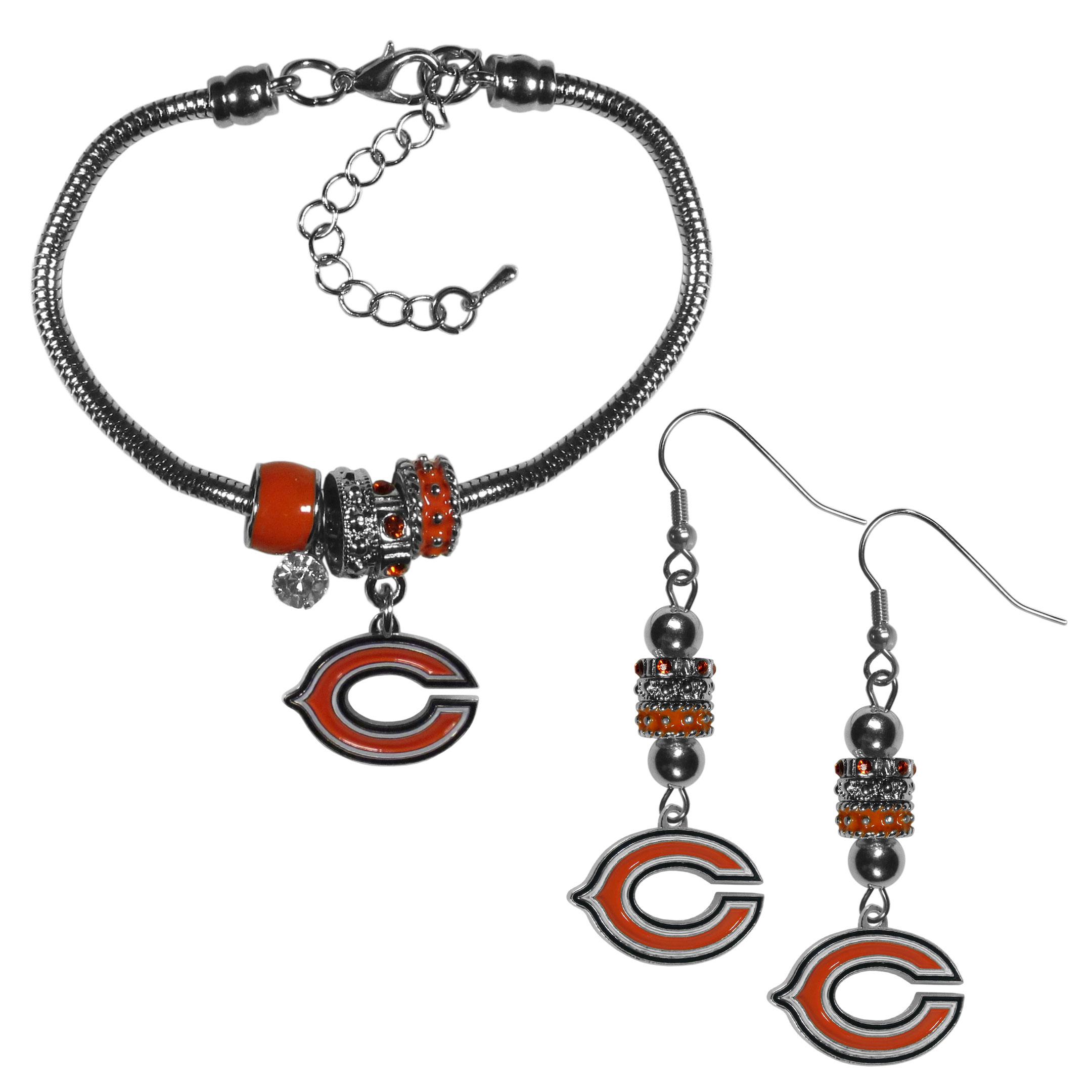 Chicago Bears Euro Bead Earrings and Bracelet Set - We combine the popular Euro bead style with your love of the Chicago Bears with this beautiful jewelry set that includes earrings and a matching bracelet. The stylish earrings feature hypoallergenic, nickel free fishhook posts and 3 team colored Euro beads and a metal team charm. The matching snake chain bracelet is 7.5 inches long with a 2 inch extender and 4 Euro beads with a rhinestone charm and team charm.