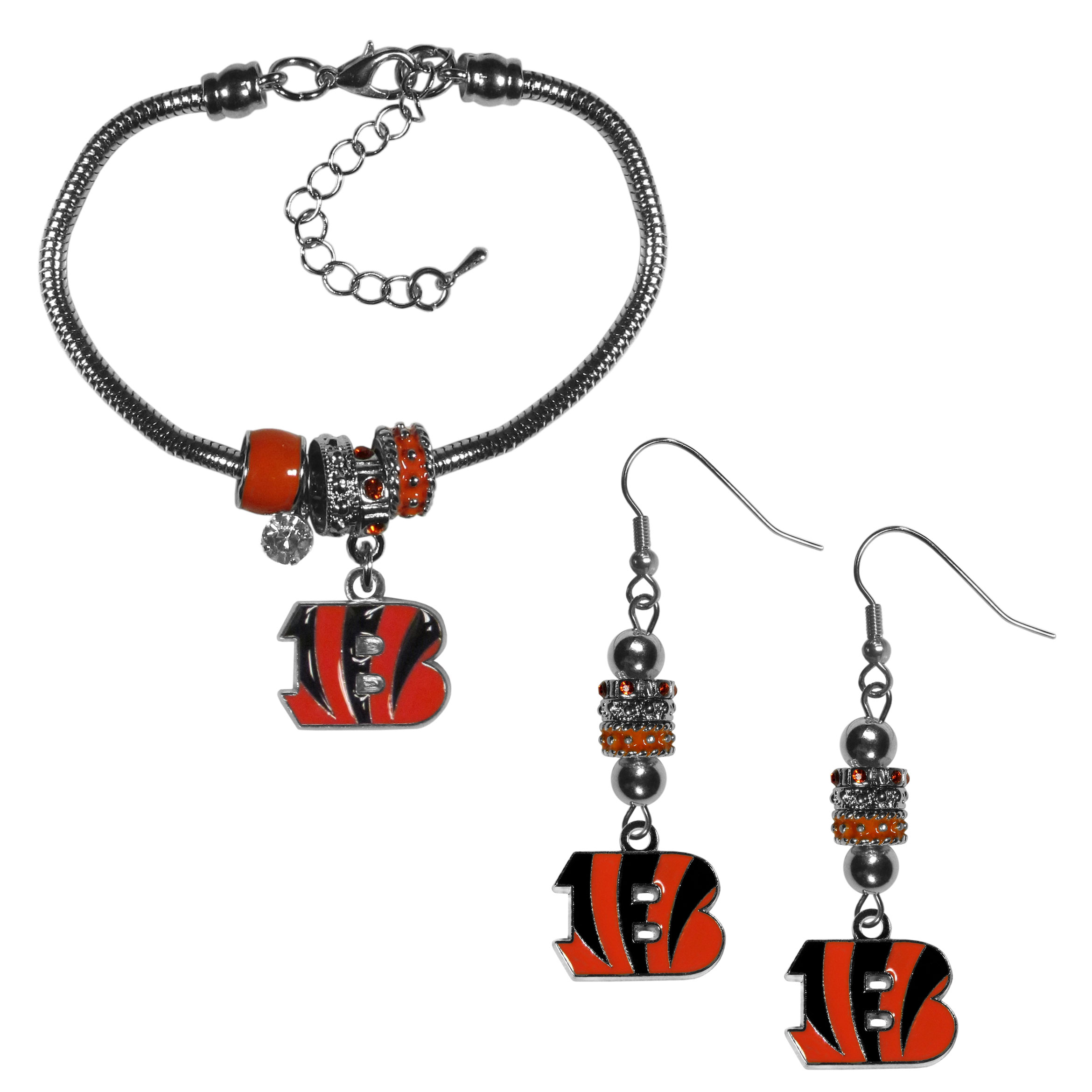 Cincinnati Bengals Euro Bead Earrings and Bracelet Set - We combine the popular Euro bead style with your love of the Cincinnati Bengals with this beautiful jewelry set that includes earrings and a matching bracelet. The stylish earrings feature hypoallergenic, nickel free fishhook posts and 3 team colored Euro beads and a metal team charm. The matching snake chain bracelet is 7.5 inches long with a 2 inch extender and 4 Euro beads with a rhinestone charm and team charm.