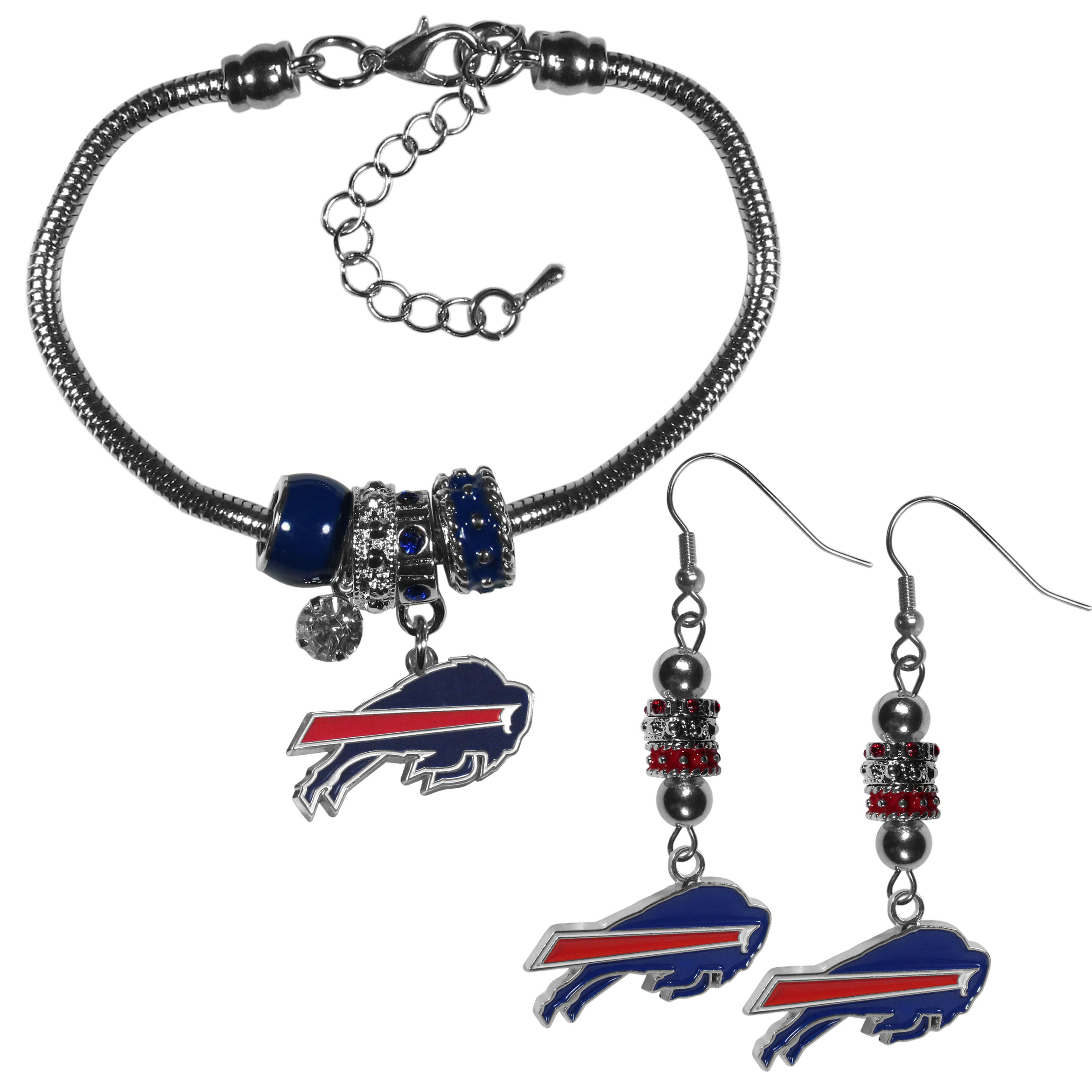 Buffalo Bills Euro Bead Earrings and Bracelet Set - We combine the popular Euro bead style with your love of the Buffalo Bills with this beautiful jewelry set that includes earrings and a matching bracelet. The stylish earrings feature hypoallergenic, nickel free fishhook posts and 3 team colored Euro beads and a metal team charm. The matching snake chain bracelet is 7.5 inches long with a 2 inch extender and 4 Euro beads with a rhinestone charm and team charm.
