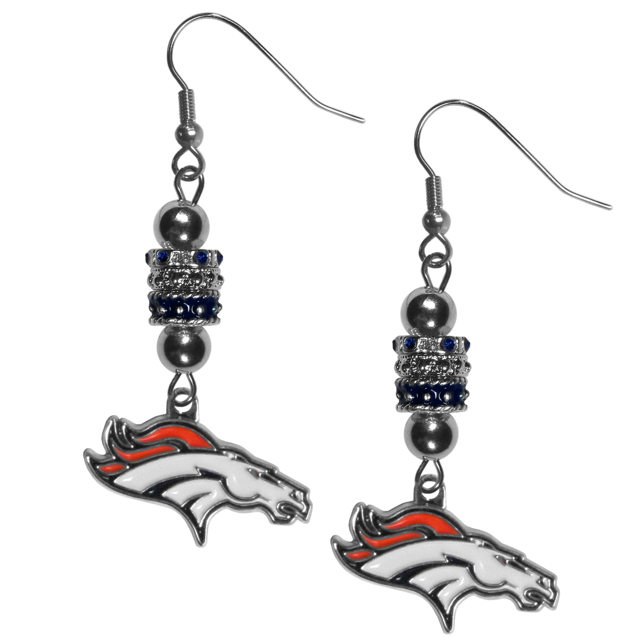 Denver Broncos Euro Bead Earrings - These beautiful euro style earrings feature 3 euro beads and a detailed Denver Broncos charm on hypoallergenic fishhook posts.