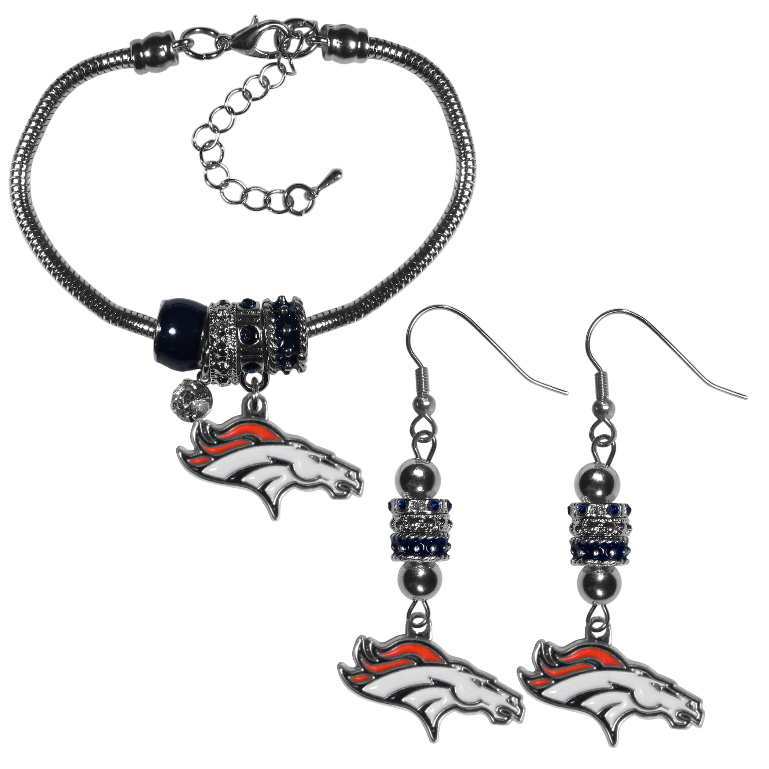 Denver Broncos Euro Bead Earrings and Bracelet Set - We combine the popular Euro bead style with your love of the Denver Broncos with this beautiful jewelry set that includes earrings and a matching bracelet. The stylish earrings feature hypoallergenic, nickel free fishhook posts and 3 team colored Euro beads and a metal team charm. The matching snake chain bracelet is 7.5 inches long with a 2 inch extender and 4 Euro beads with a rhinestone charm and team charm.